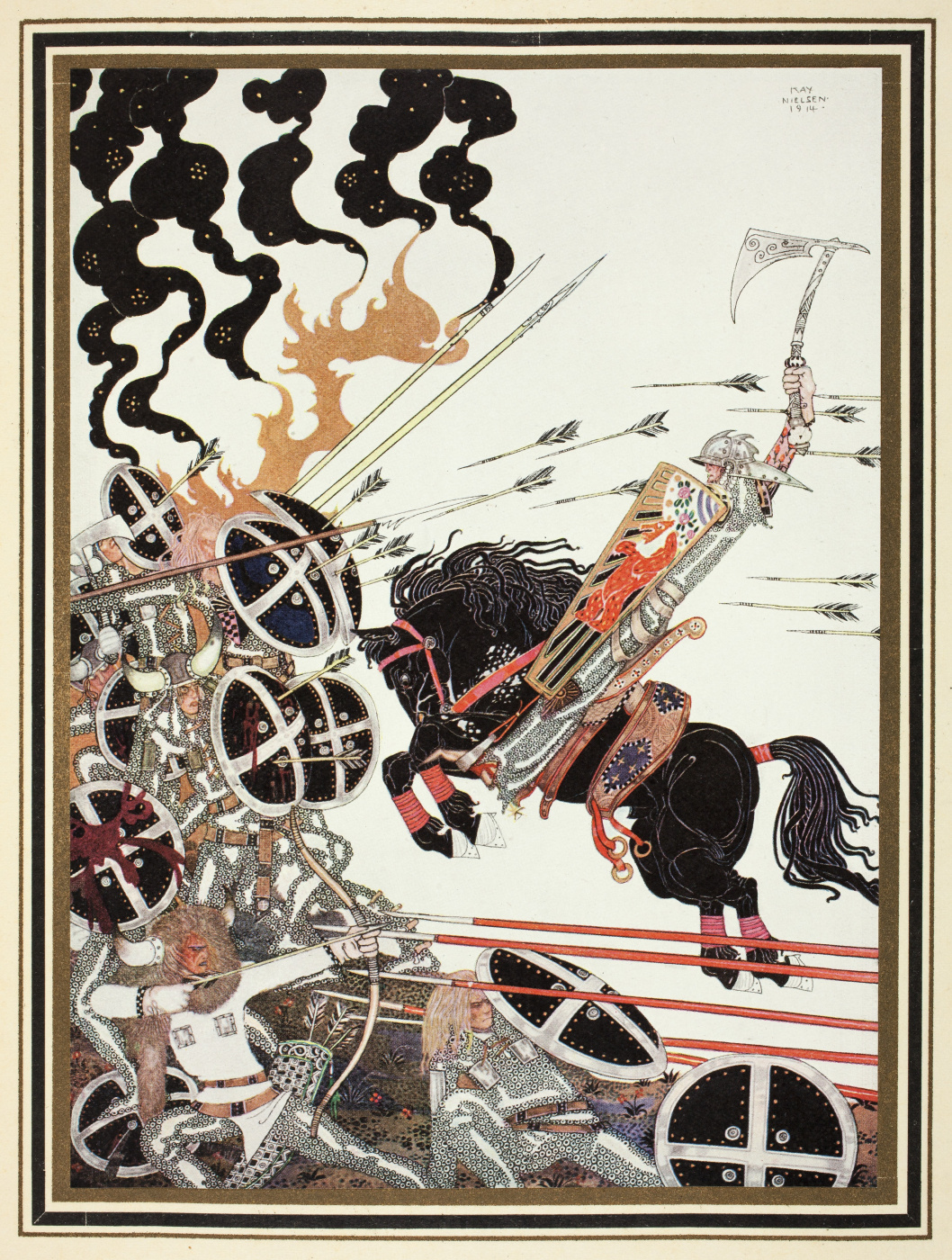 """Kay Nielsen. Lad in a battle. Illustration of the collection of fairy tales """"East of the sun West of the moon"""""""