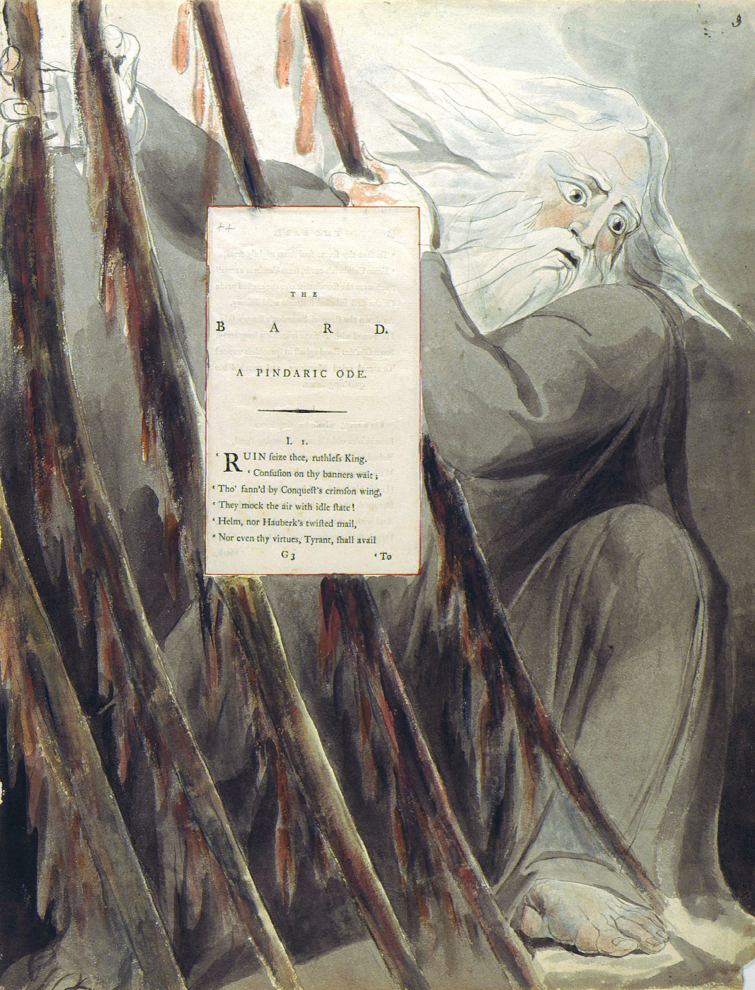William Blake. Illustrations to the poems. Bard. Pintoresca ode. Sheet 3. Beginning of the poem