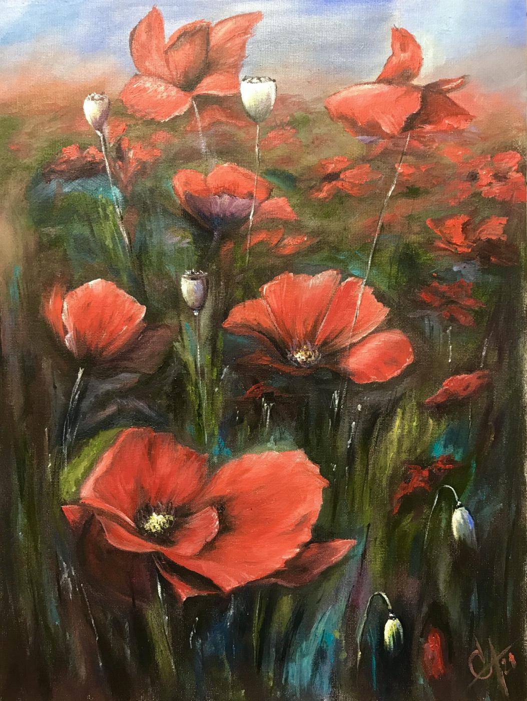 Svetlana Arkhipova. Crimson poppies in the grass