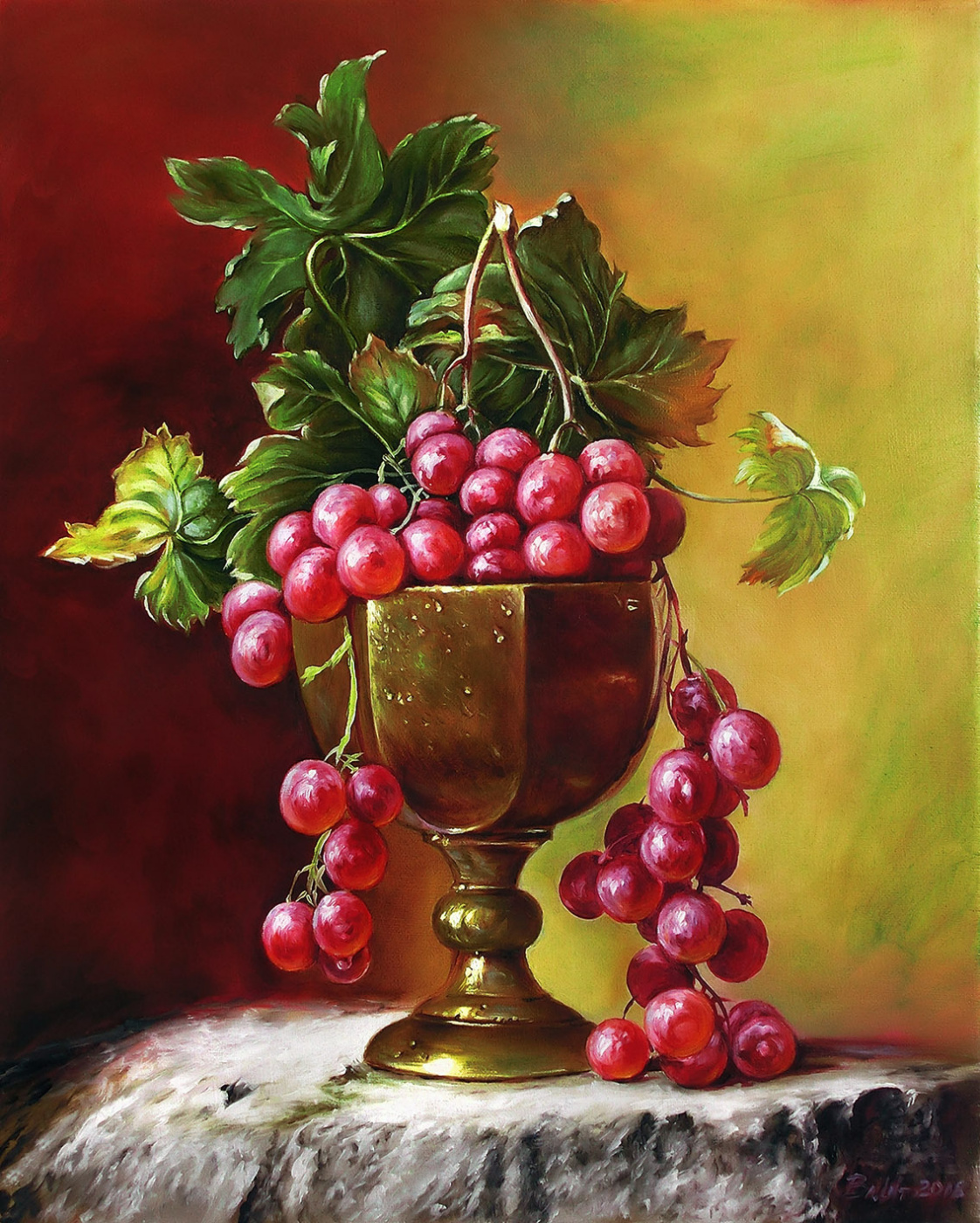 Vladimir Shtykov. Grapes in a bronze bowl