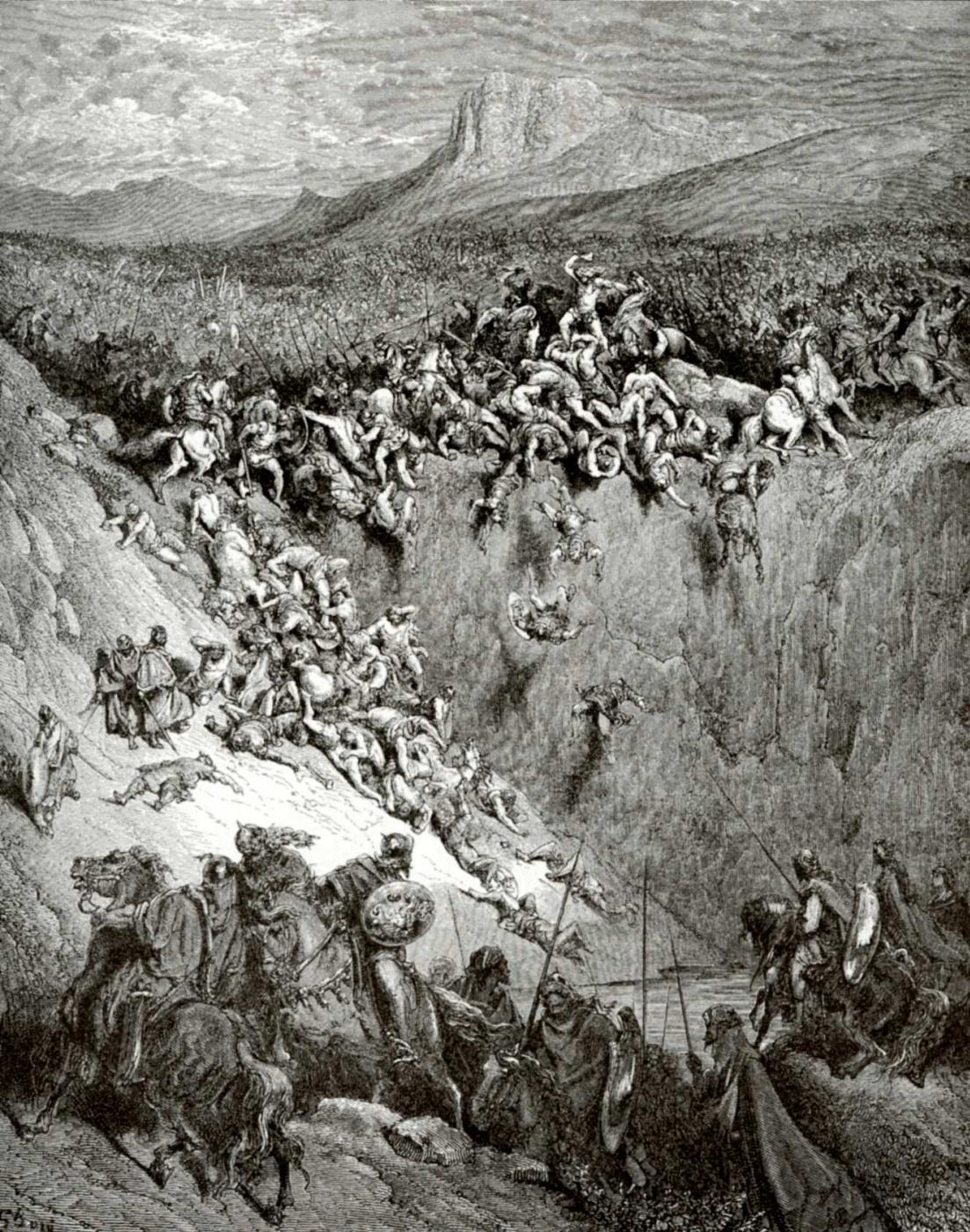 Поль Гюстав Доре. Иллюстрация к Библии: Самсон побеждает тысячу филистимлян