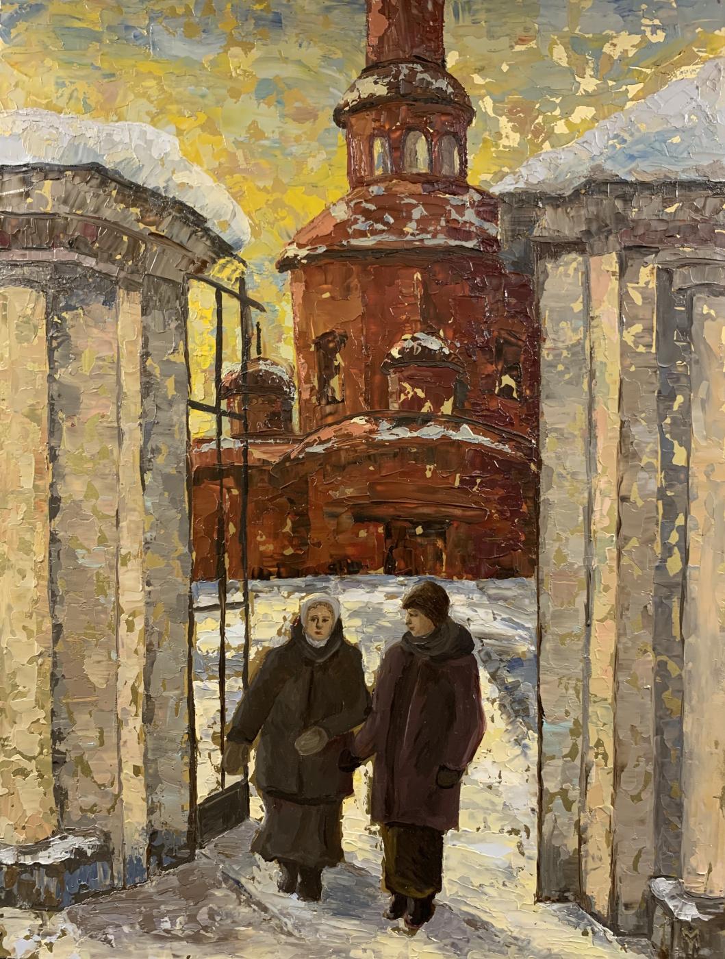 """Julia Mamontova. """"Sincere conversation in Russia"""", brass, oil, 2020, 40 * 30 cm"""