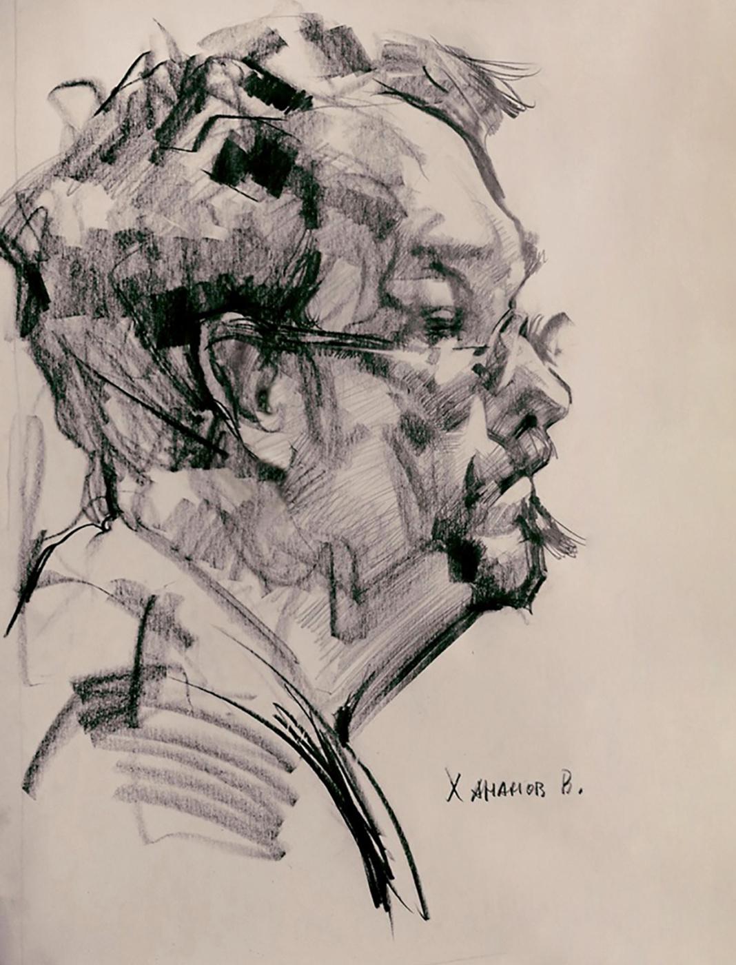"Владимир Анатольевич Хананов. Hananov V._ ""Self-portrait"" _490x390mm_ b / c"