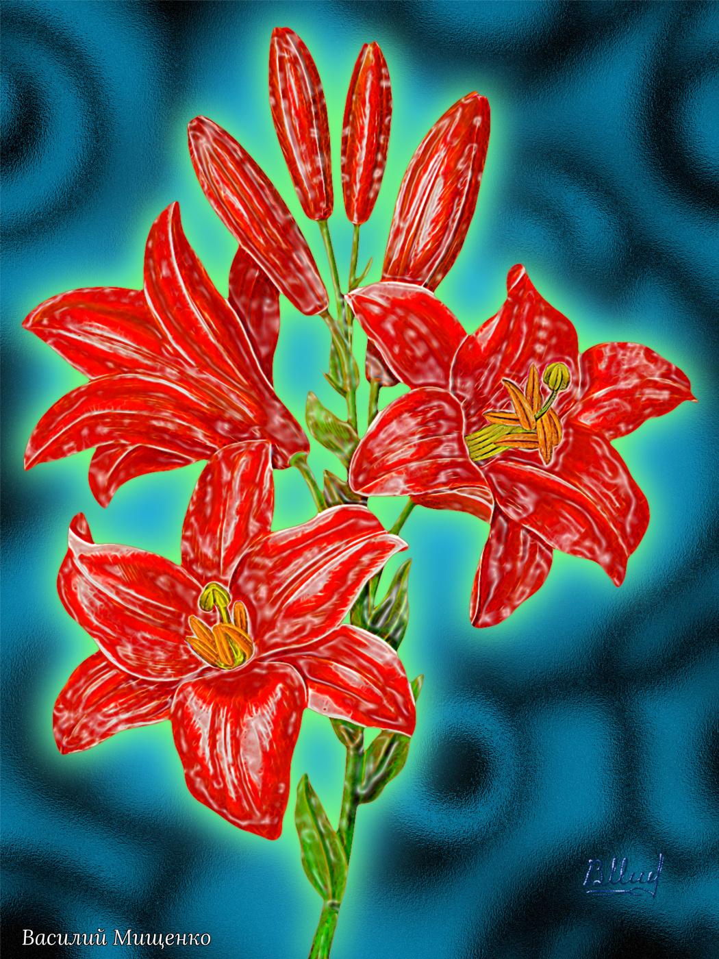Vasiliy Mishchenko. Red lilies