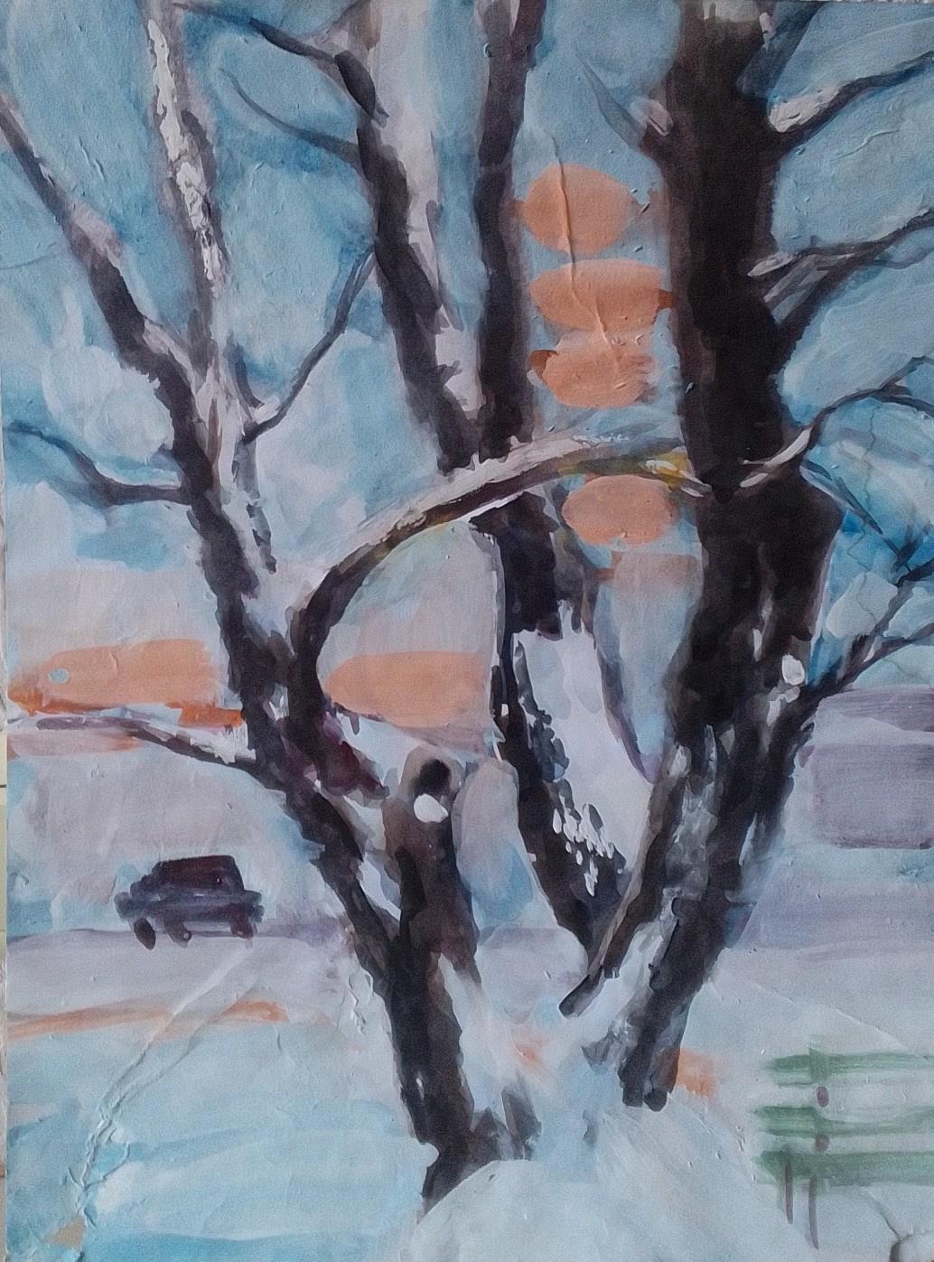 Edward Rudolfovich Votyakov. Предновогоднее настроение. Дерево у дома 16 по улице Вильямса.
