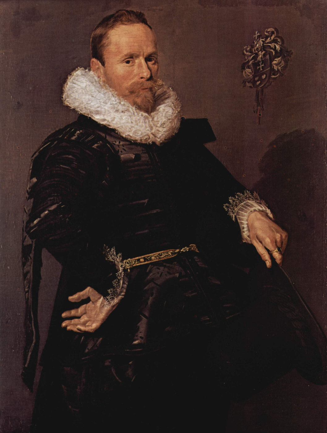 Frans Hals. Portrait of a man with a hat in his left hand