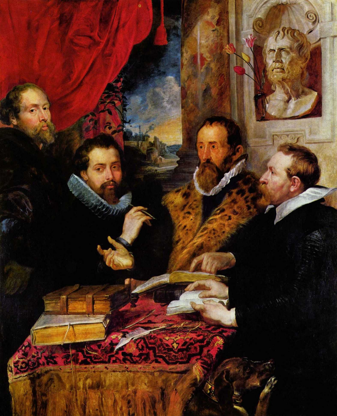 Peter Paul Rubens. Four of the philosopher, from left to right: Rubens, his brother Philipp, the scholar Lipsius and his pupil Jan van der Auwera