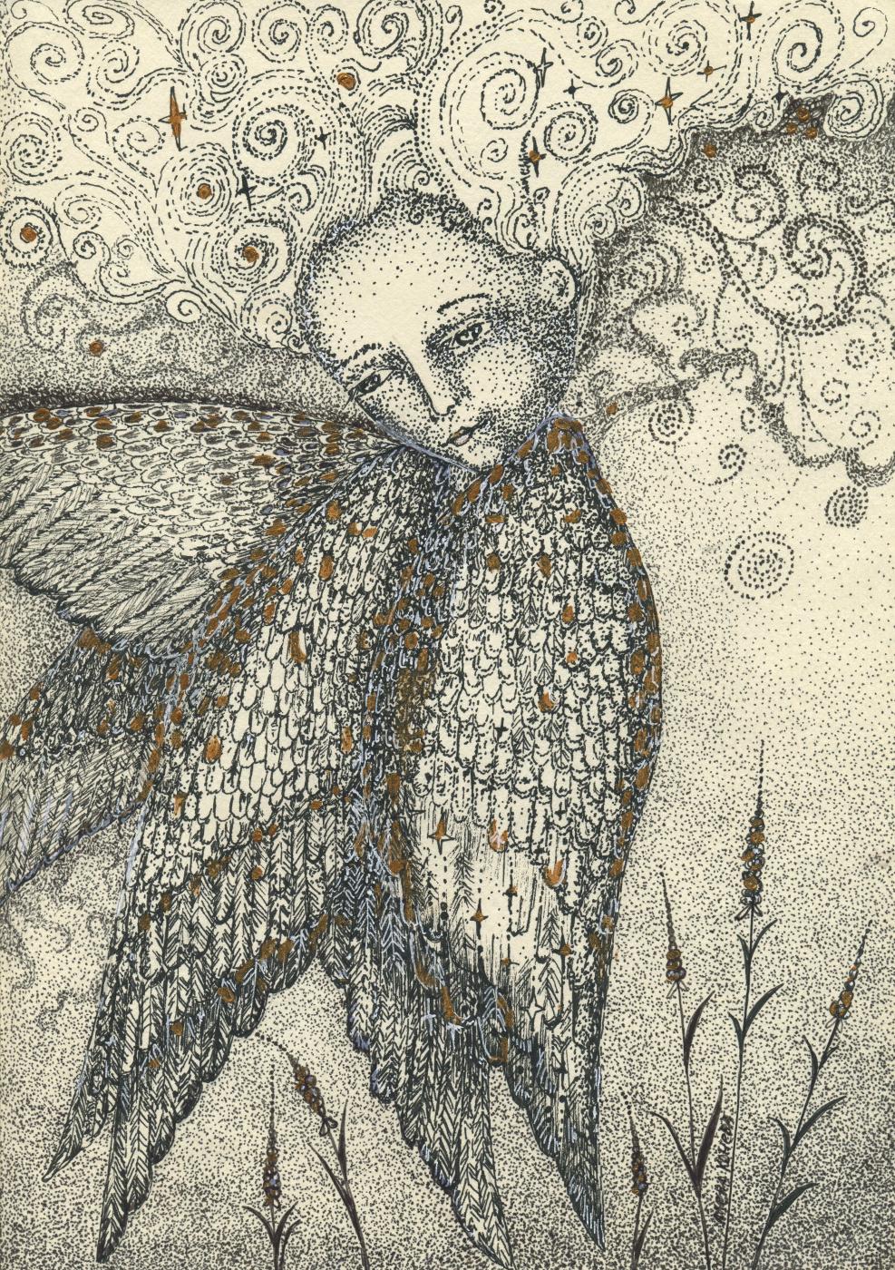 Olyona Ivanovna Koneva. Angel. Space. Gold. Print