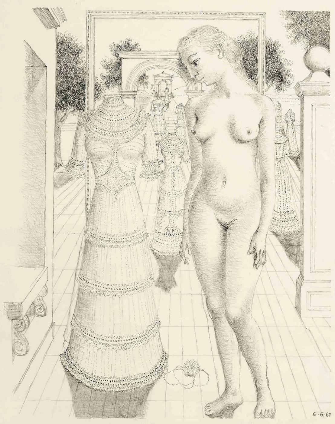 Поль Дельво Бельгия 1897-1994. Воскресное платье.  1967