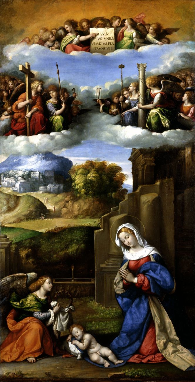 Benvenuto Tizi yes Garofalo. Mary with angels worship the Child