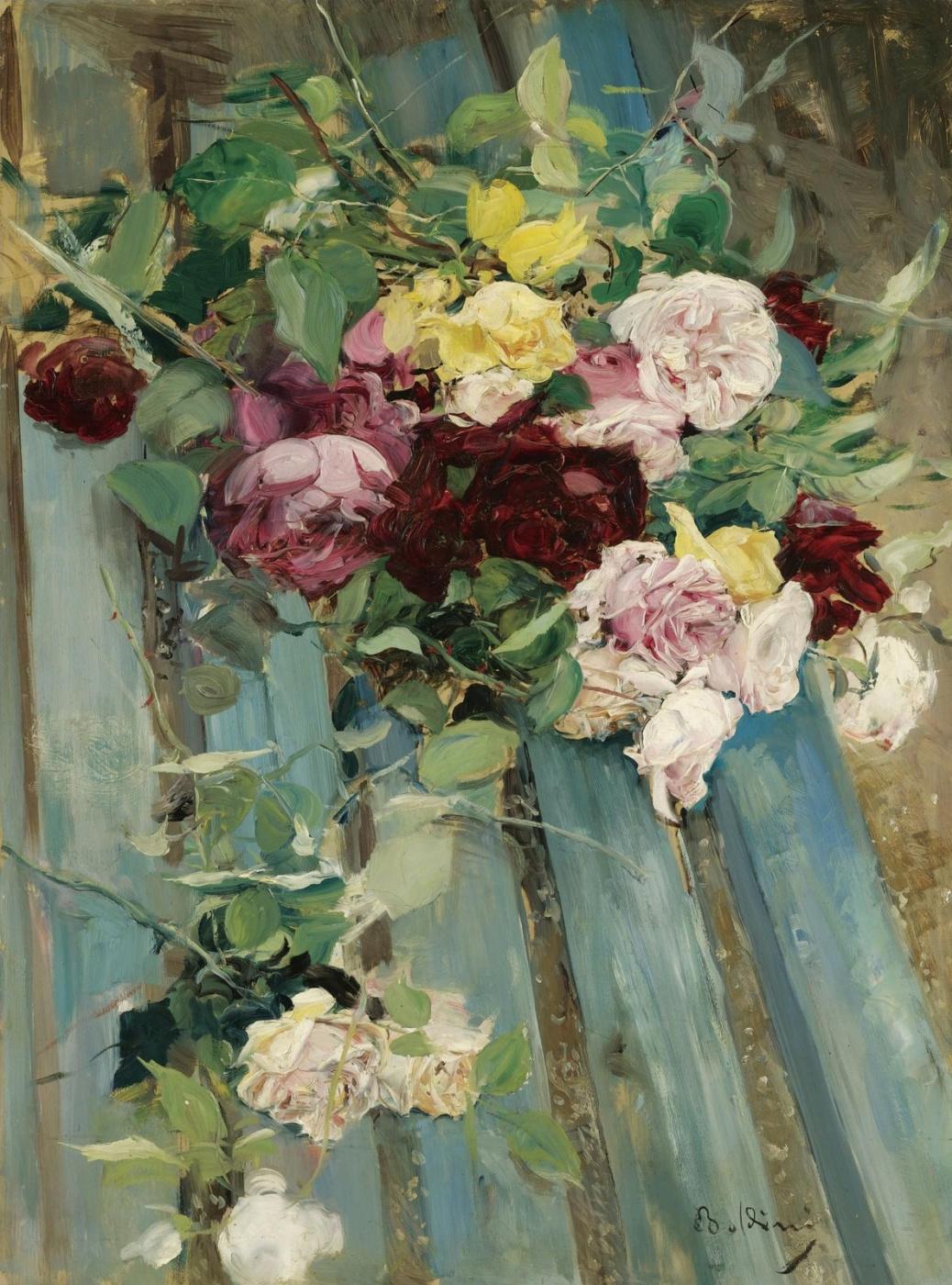 Giovanni Boldini. Still-life with roses