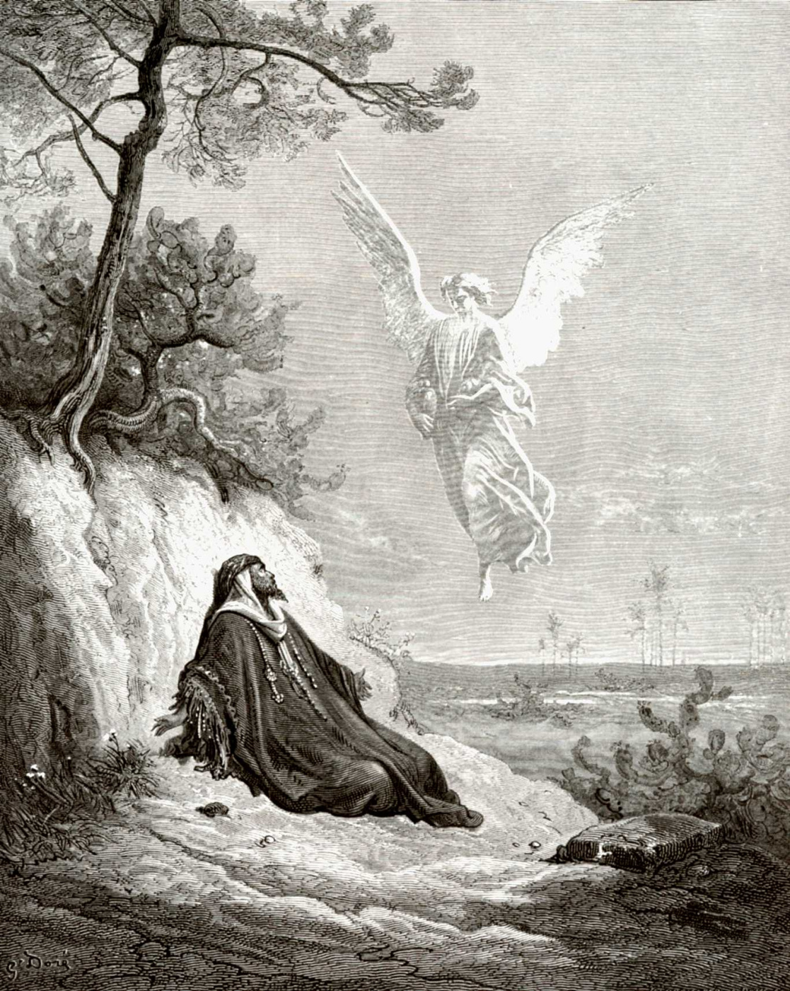 Paul Gustave Dore. Illustration to the Bible: Angel brings food and drink to the prophet Elijah