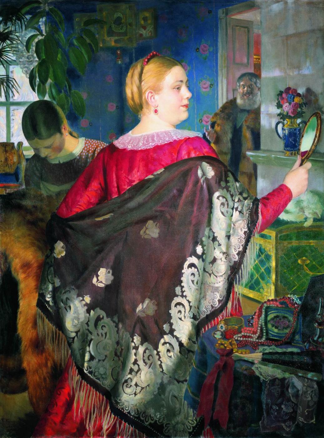 Boris Mikhailovich Kustodiev. The merchant's wife with mirror