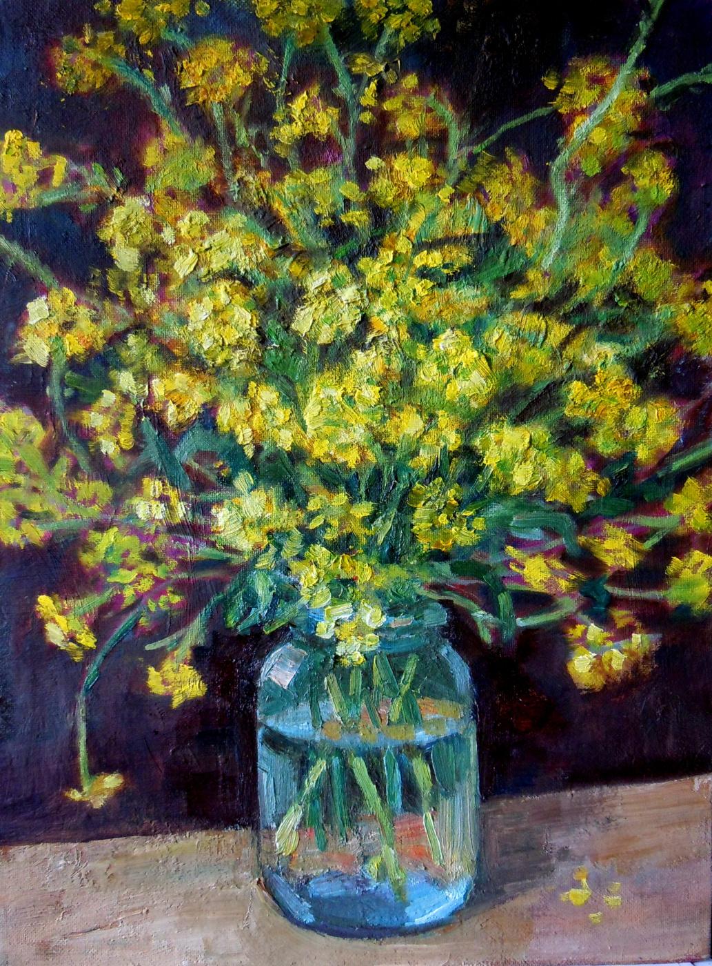 Vera Alekseevna Emelyanova. Bouquet of yellow colza