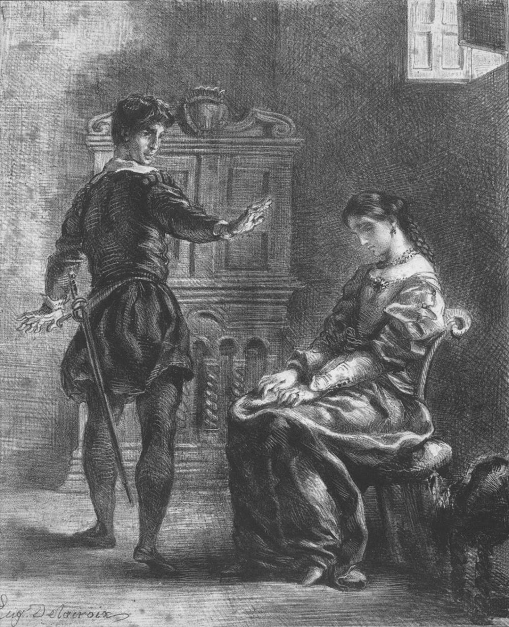 Eugene Delacroix. Hamlet tells Ophelia to go to a monastery