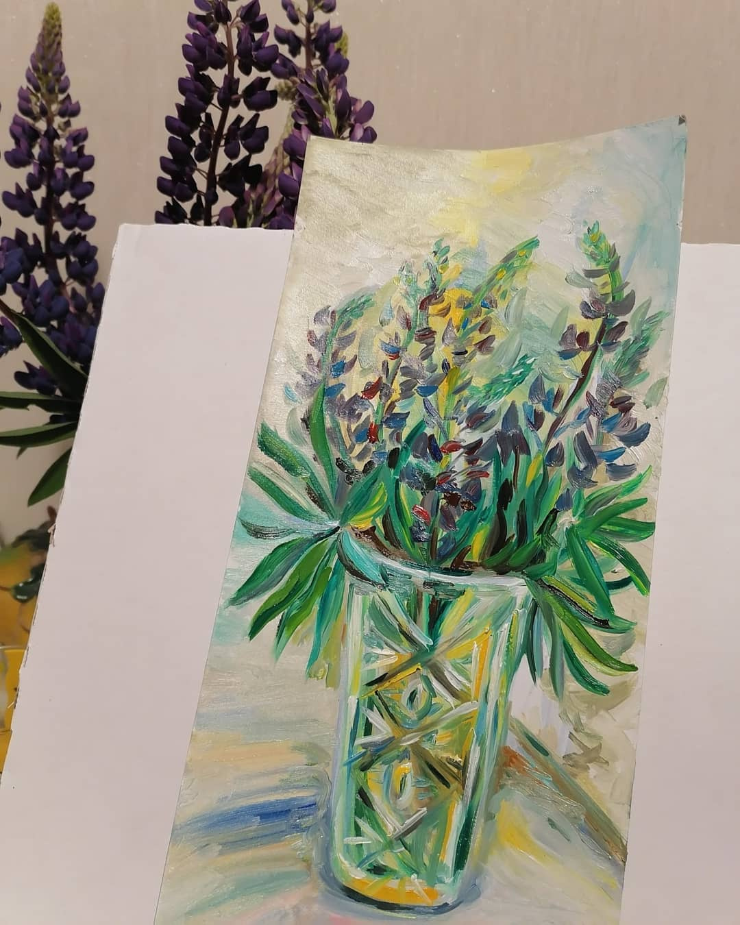 Lupins in a vase