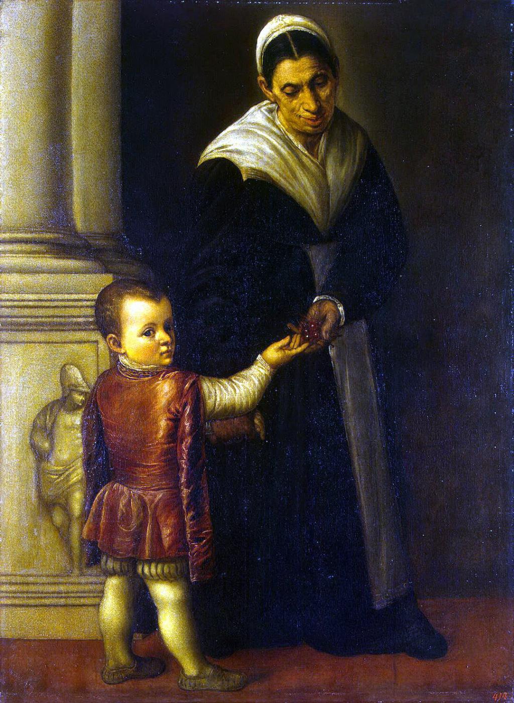Moretto da Brescia. Portrait of a boy with a nanny