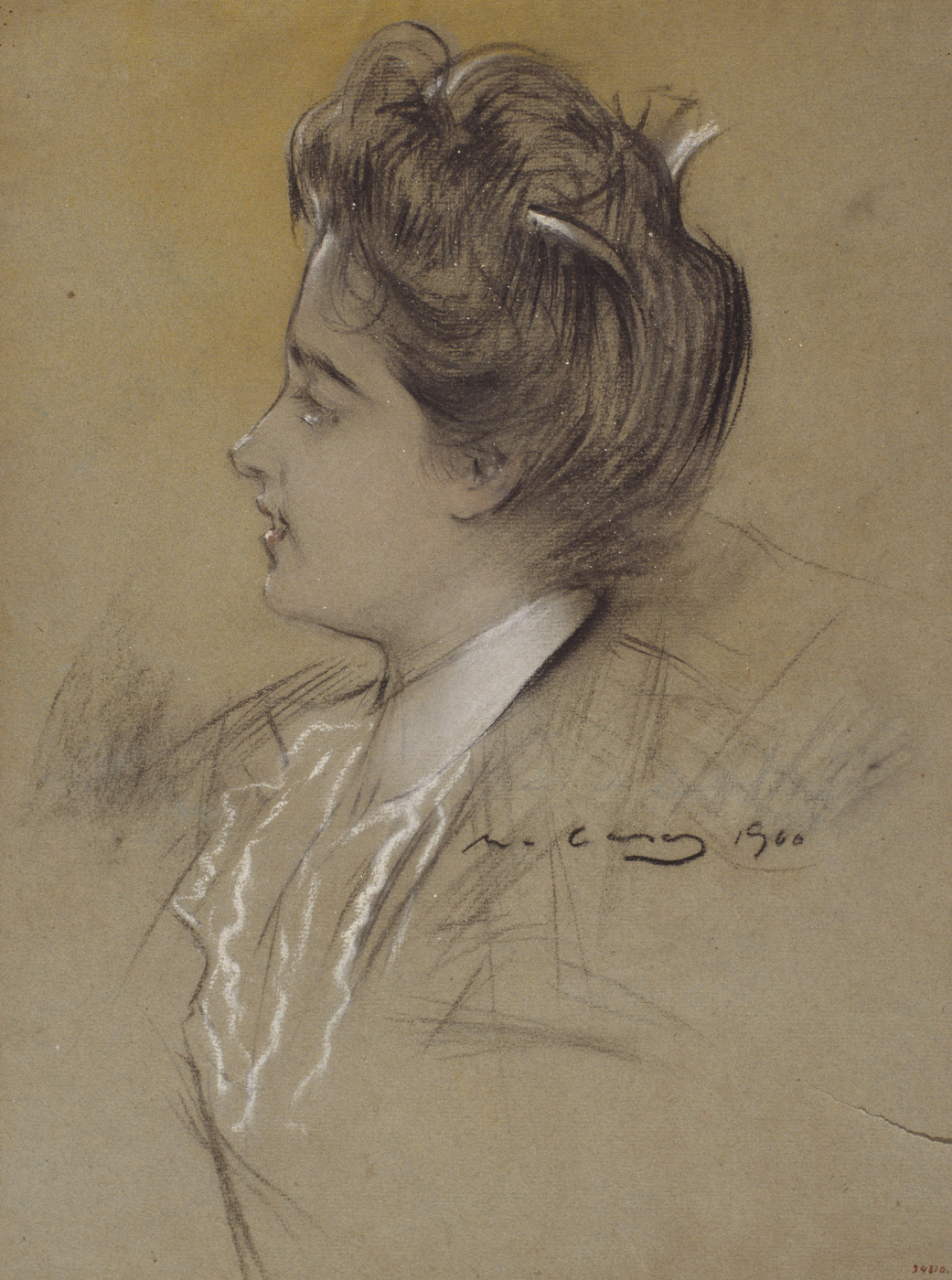 Ramon Casas i Carbó. Portrait of a young woman in profile