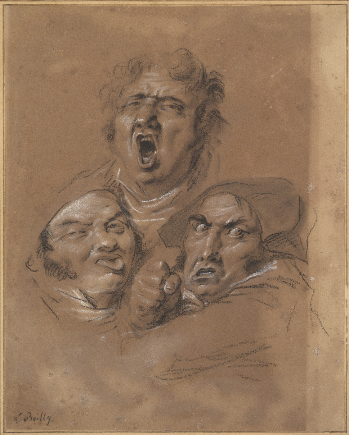 Louis-Leopold Boi. Study of Three Heads