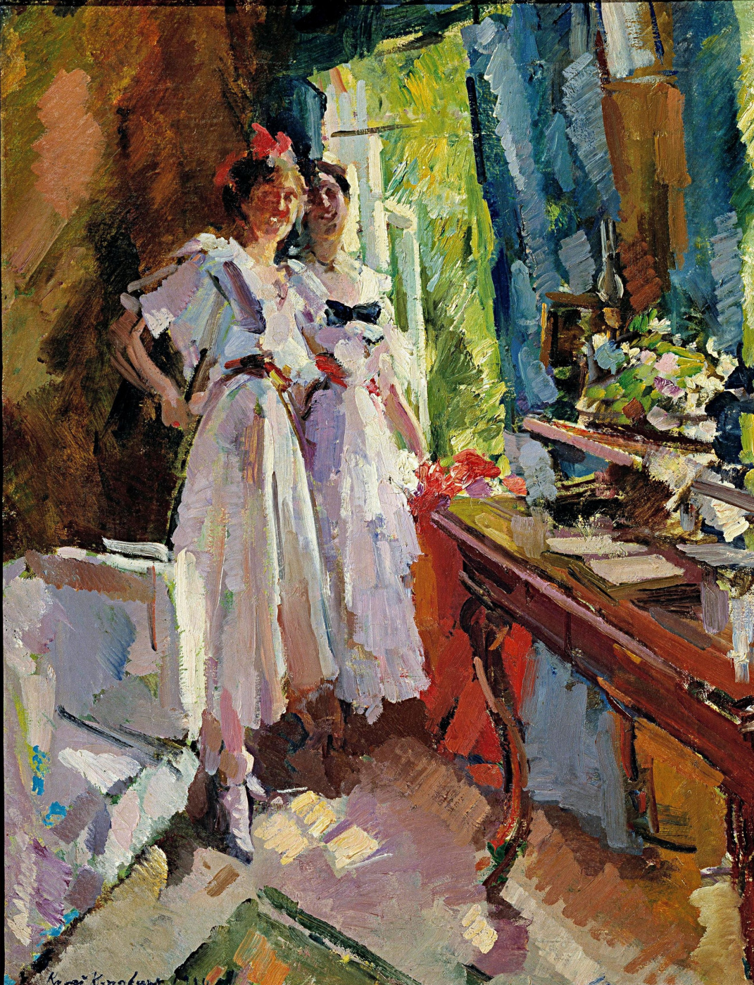 Konstantin Korovin. At the open window. Portrait of the daughters of Chaliapin