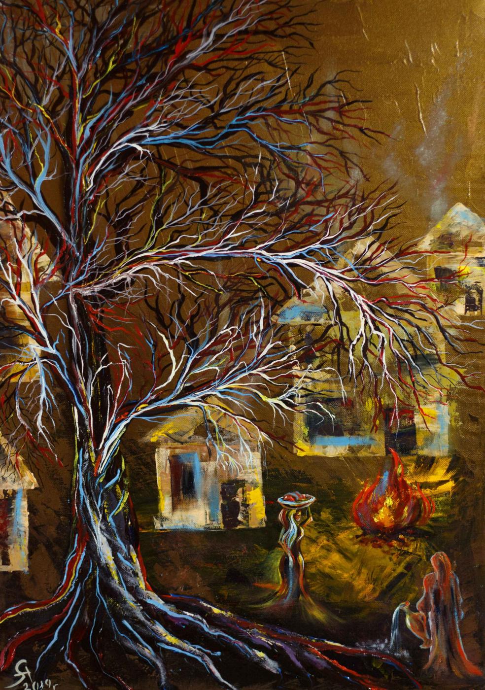 """Alla Struchayeva. The painting """"Village of Fire"""""""