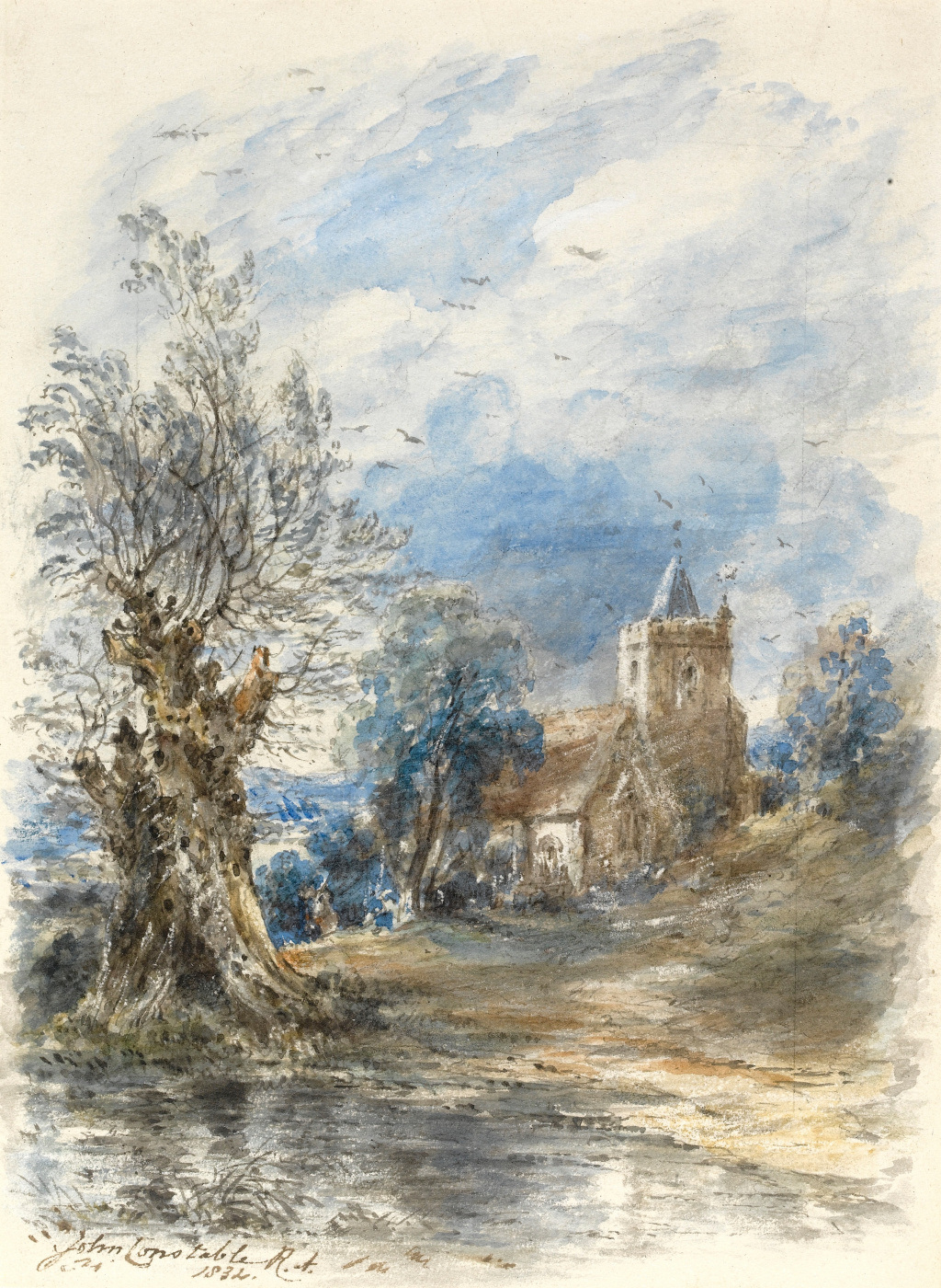 John Constable. Landscape with a tree and a Church on the banks of the river