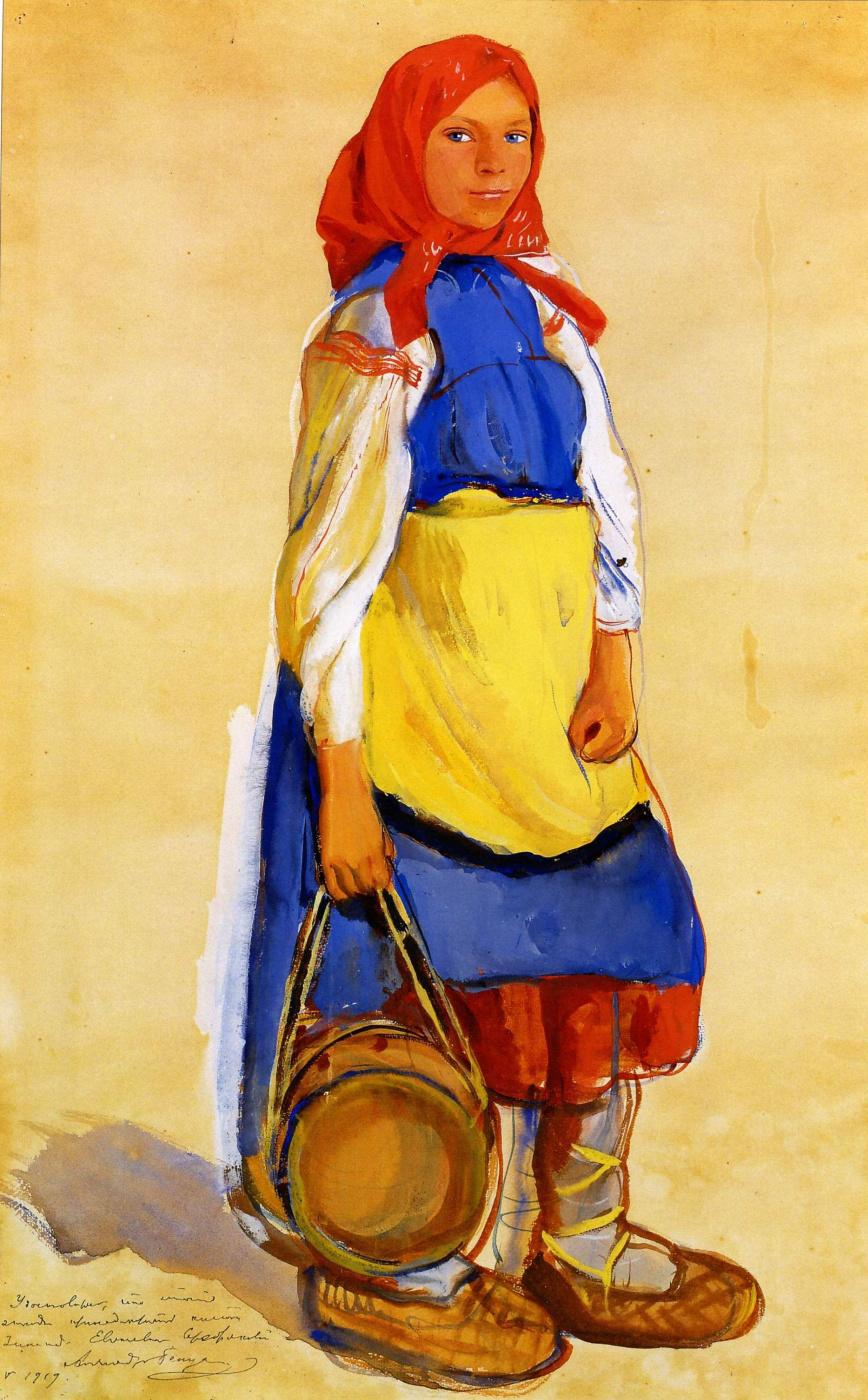 Зинаида Евгеньевна Серебрякова. Крестьянская девушка в синем сарафане и в лаптях