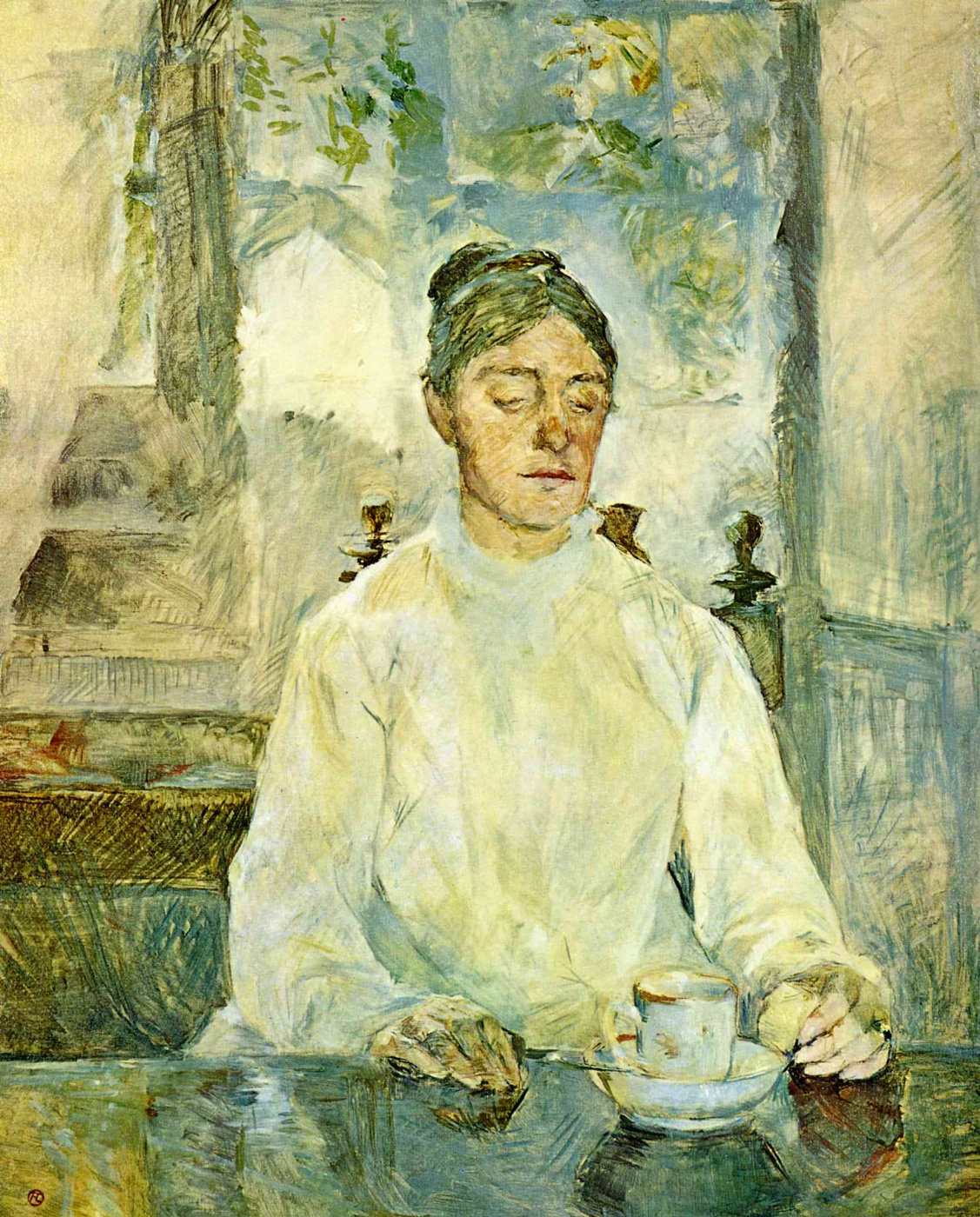 Henri de Toulouse-Lautrec. The artist's mother, the Countess Adele de Toulouse-Lautrec at Breakfast