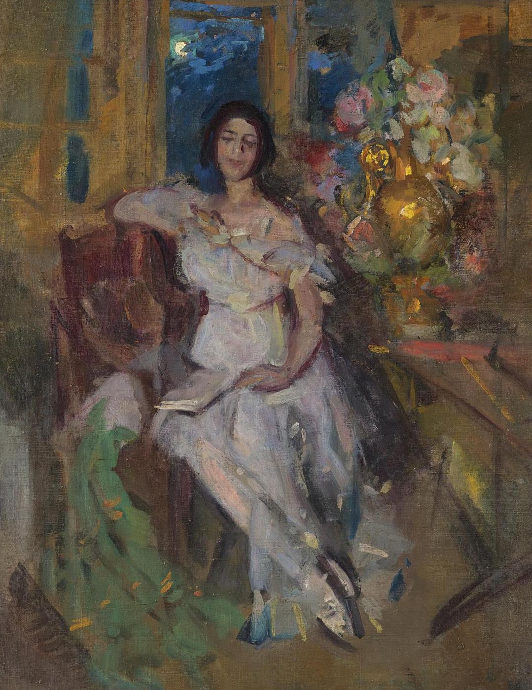 Konstantin Korovin. Portrait of a sitting lady