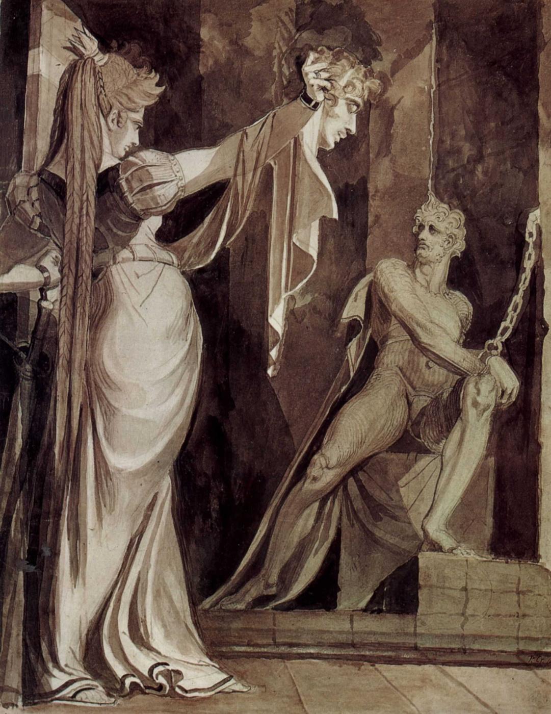 Johann Heinrich Fuessli. Krimhilda head Gunther