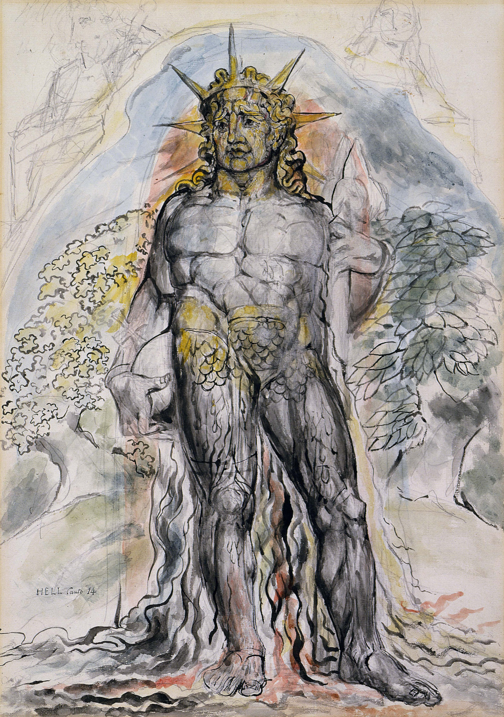 """William Blake. The symbolic figure of the course of history of mankind, described by Virgil. Illustrations for the """"Divine Comedy"""""""