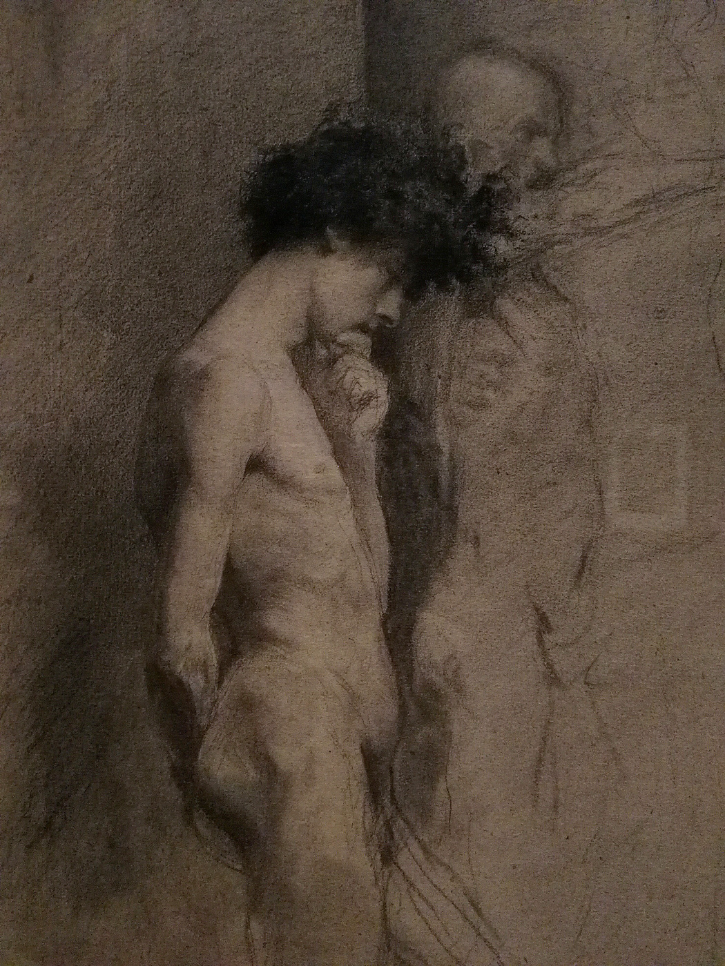 Mariano Fortuny y Marsal. The Nude figure of a man in profile, reflecting the sculpture (fragment)