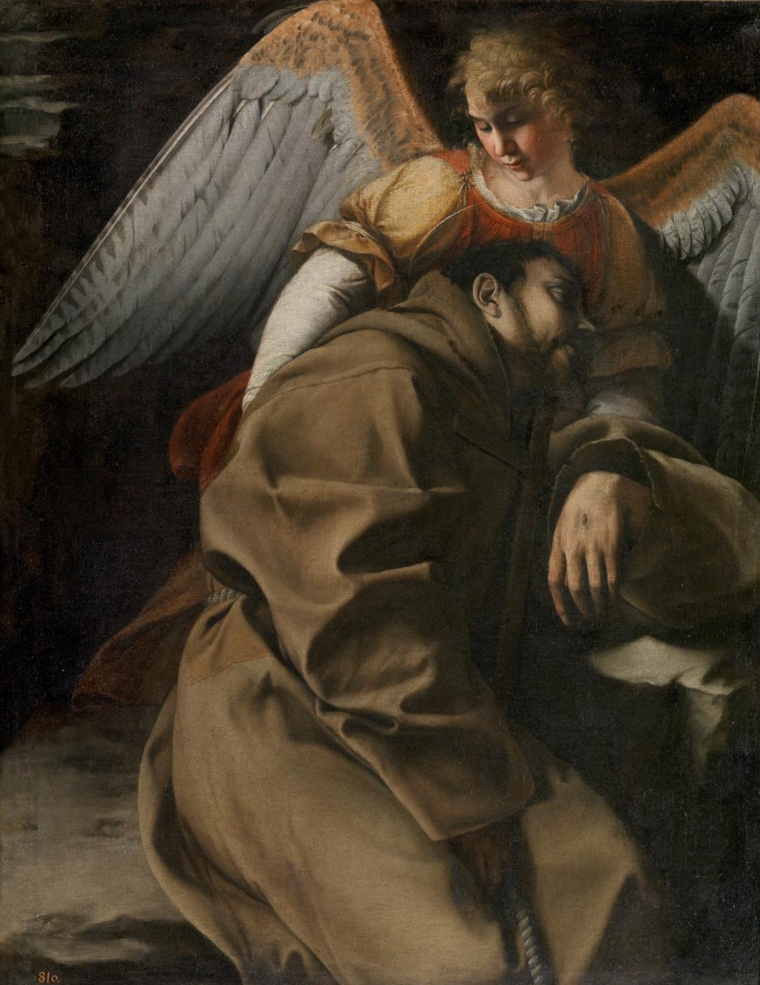 Orazio Gentileski. Saint Francis supported by an Angel