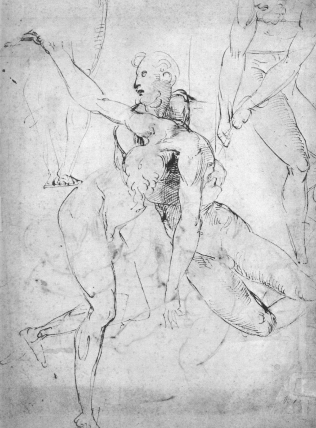 Raphael Sanzio. Sketch of Nude male figures for the battle scenes