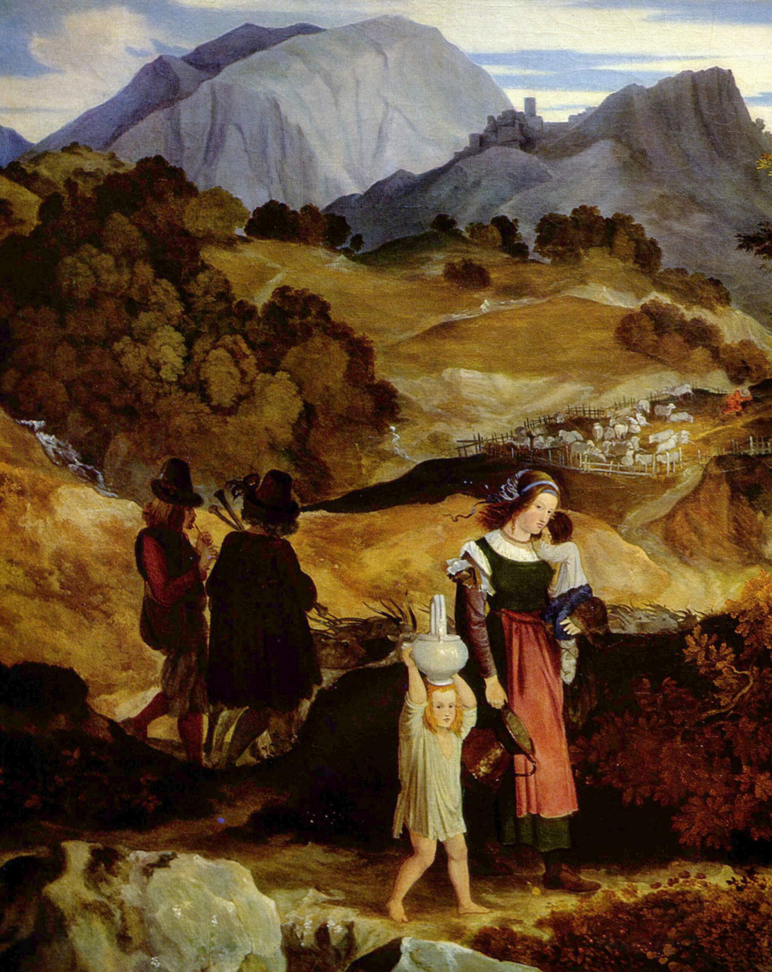 Karl Philippe Fort Wayne. Italian romantic landscape. Detail