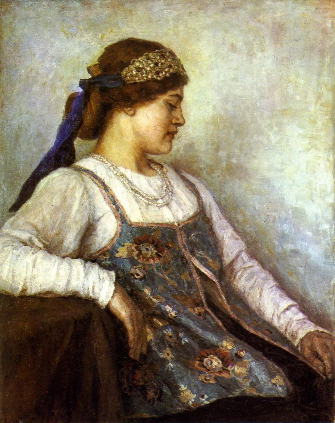 Vasily Surikov. Portrait Of Natalia Fedorovna Matveeva