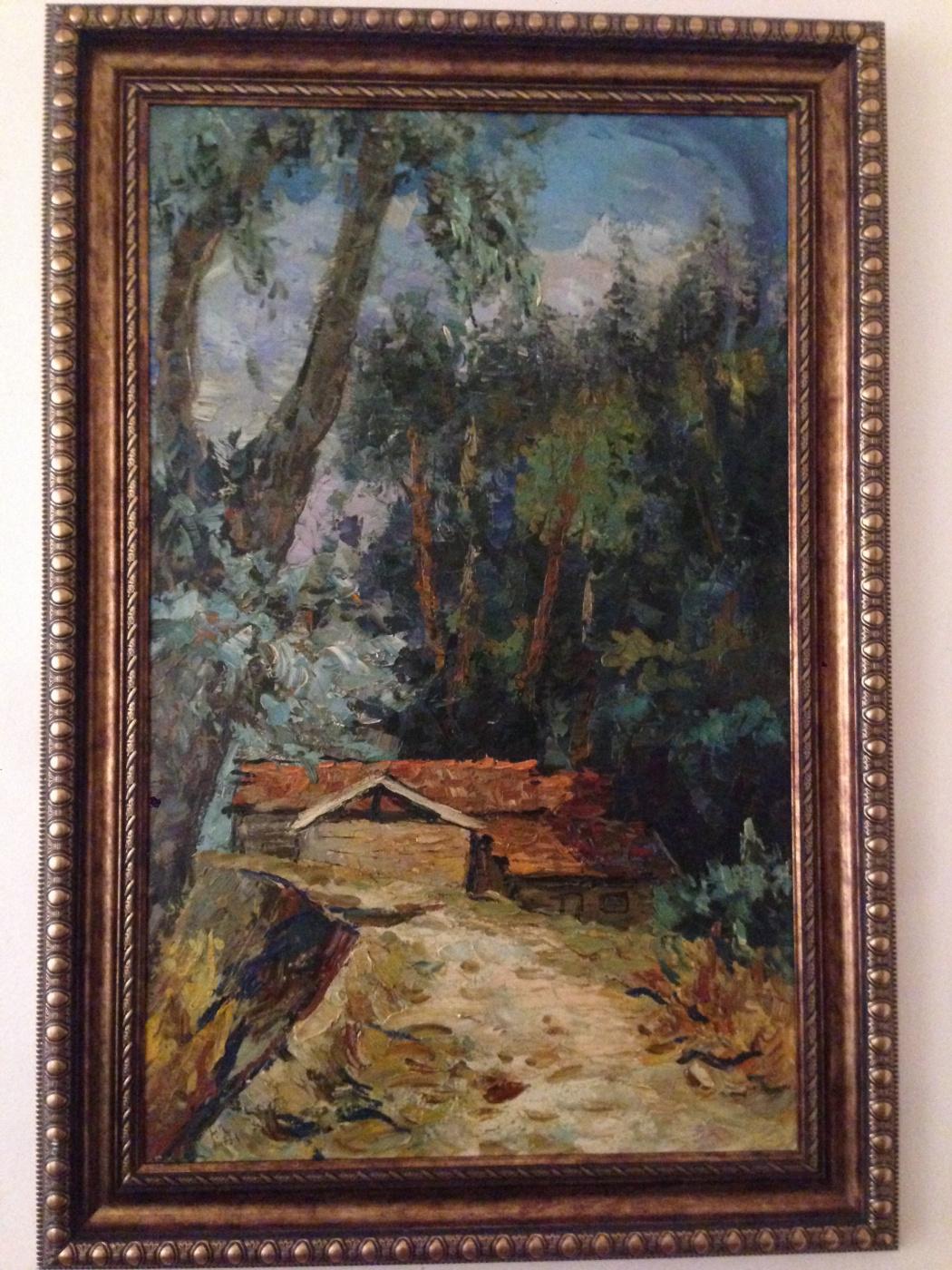Khachatur Aramovich Karabekyan. Landscape ,, hut in the forest ,,