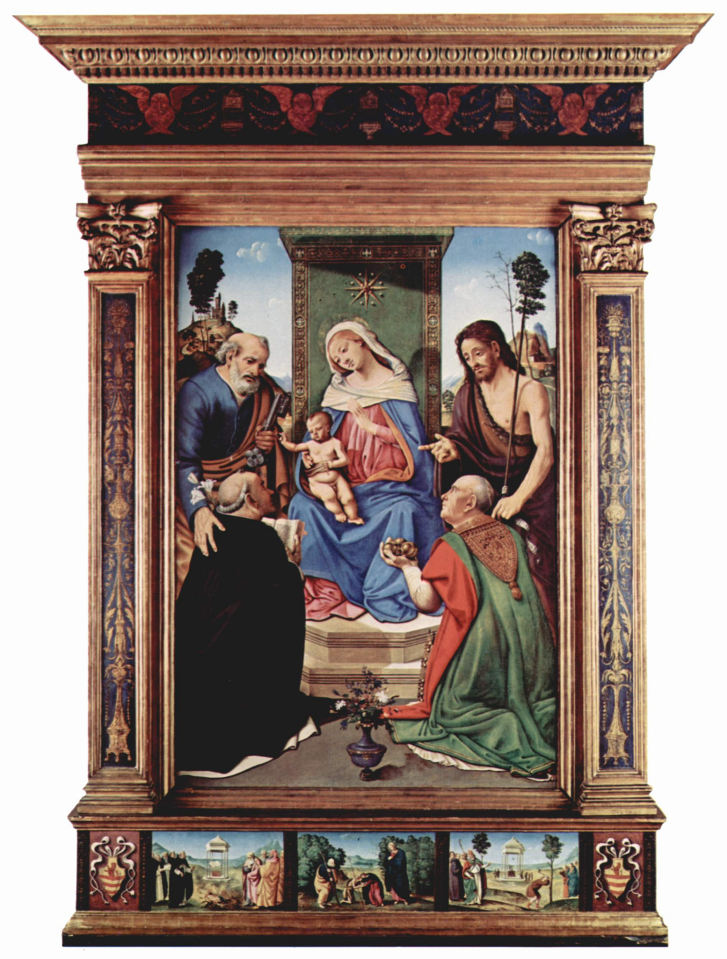 Piero di Cosimo. The Altar Pugliese. Madonna enthroned, the Apostle Peter, John the Baptist, St. Nicholas of Bari and St. Dominic, General view with predelay
