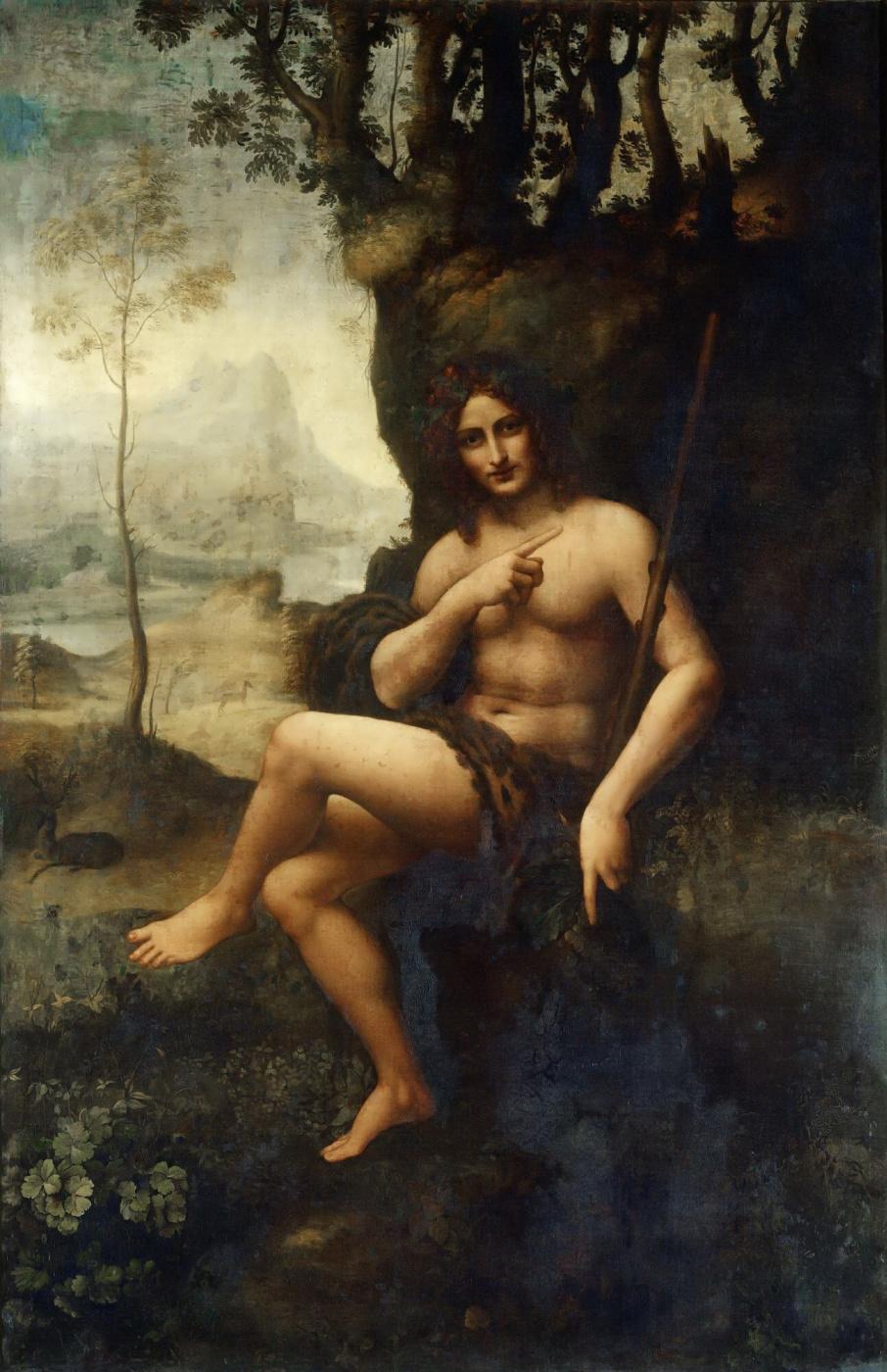 Leonardo da Vinci. Bacchus (St. John the Baptist in the wilderness)
