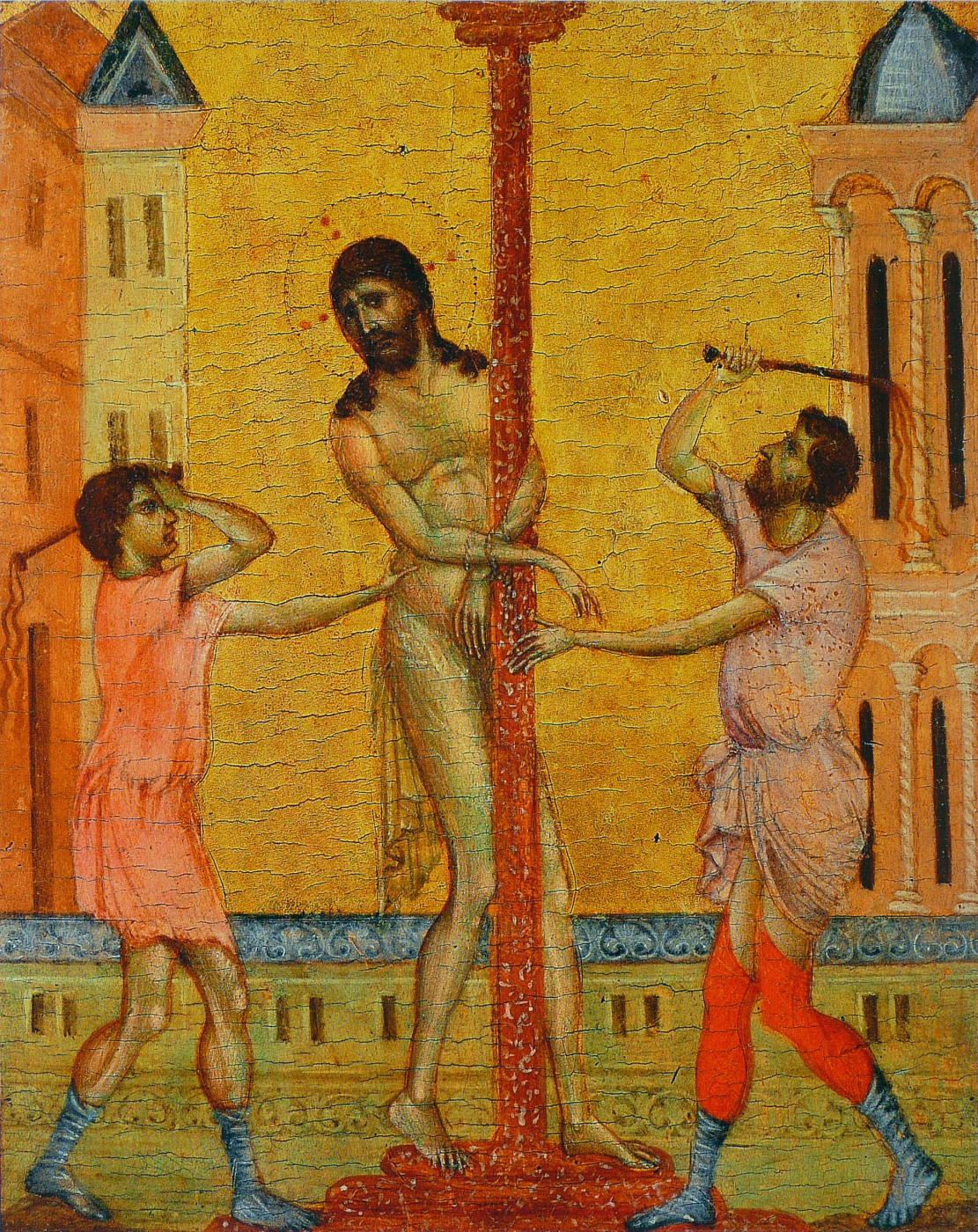 Cheney di Pepo Cimabue. The Flagellation of Christ