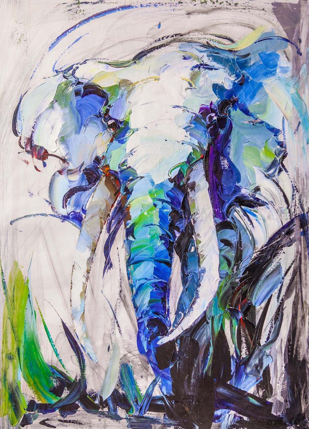 Jose Rodriguez. Portrait of an elephant. Blue tone