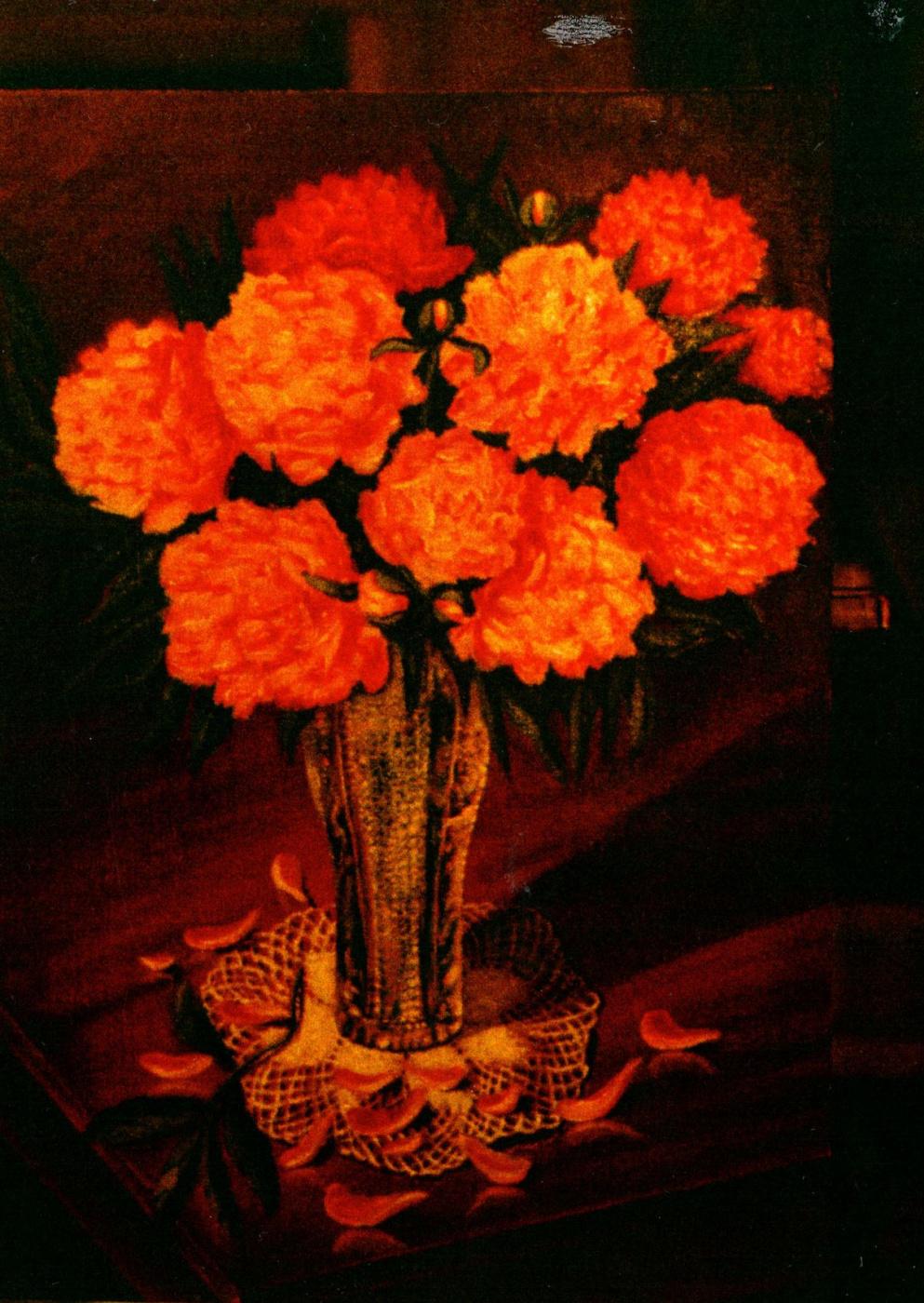 Vladimir Vasilyevich Abaimov. Peonies in a crystal Vase
