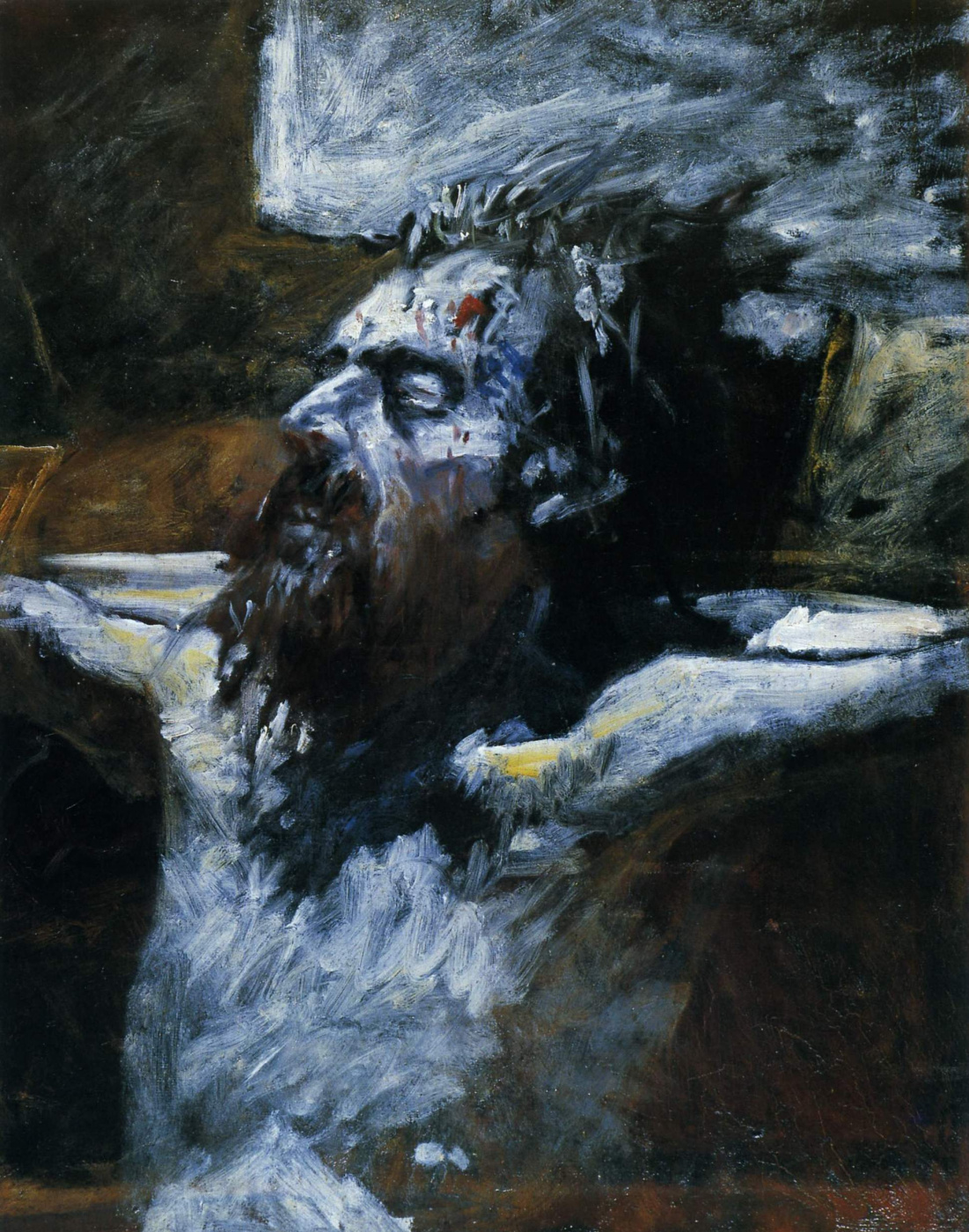 """Nikolai Nikolaevich Ge. The head of the crucified Christ. Preparatory sketch for the painting """"the Crucifixion"""""""