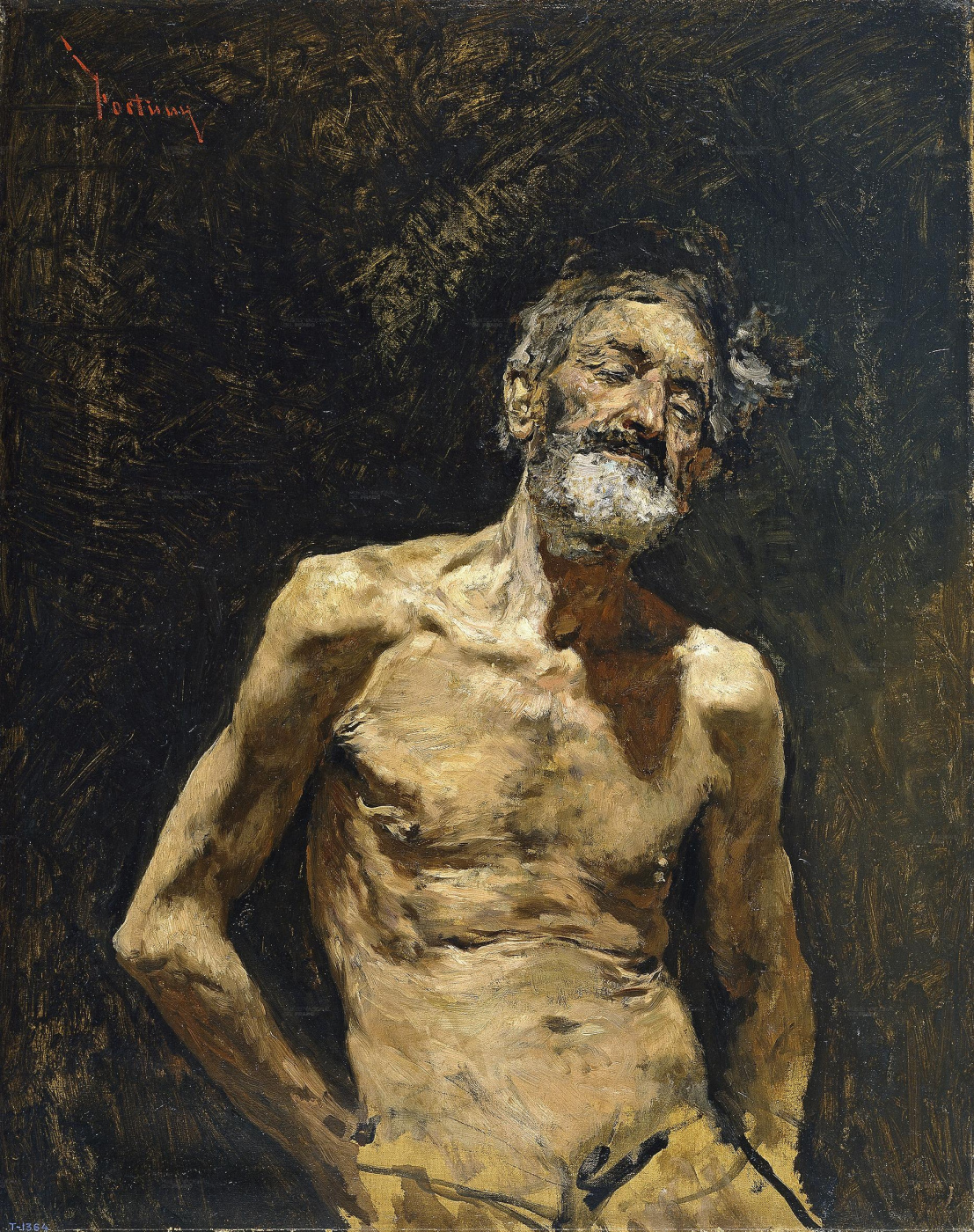 Mariano Fortuny y Marsal. Naked man basking in the sun
