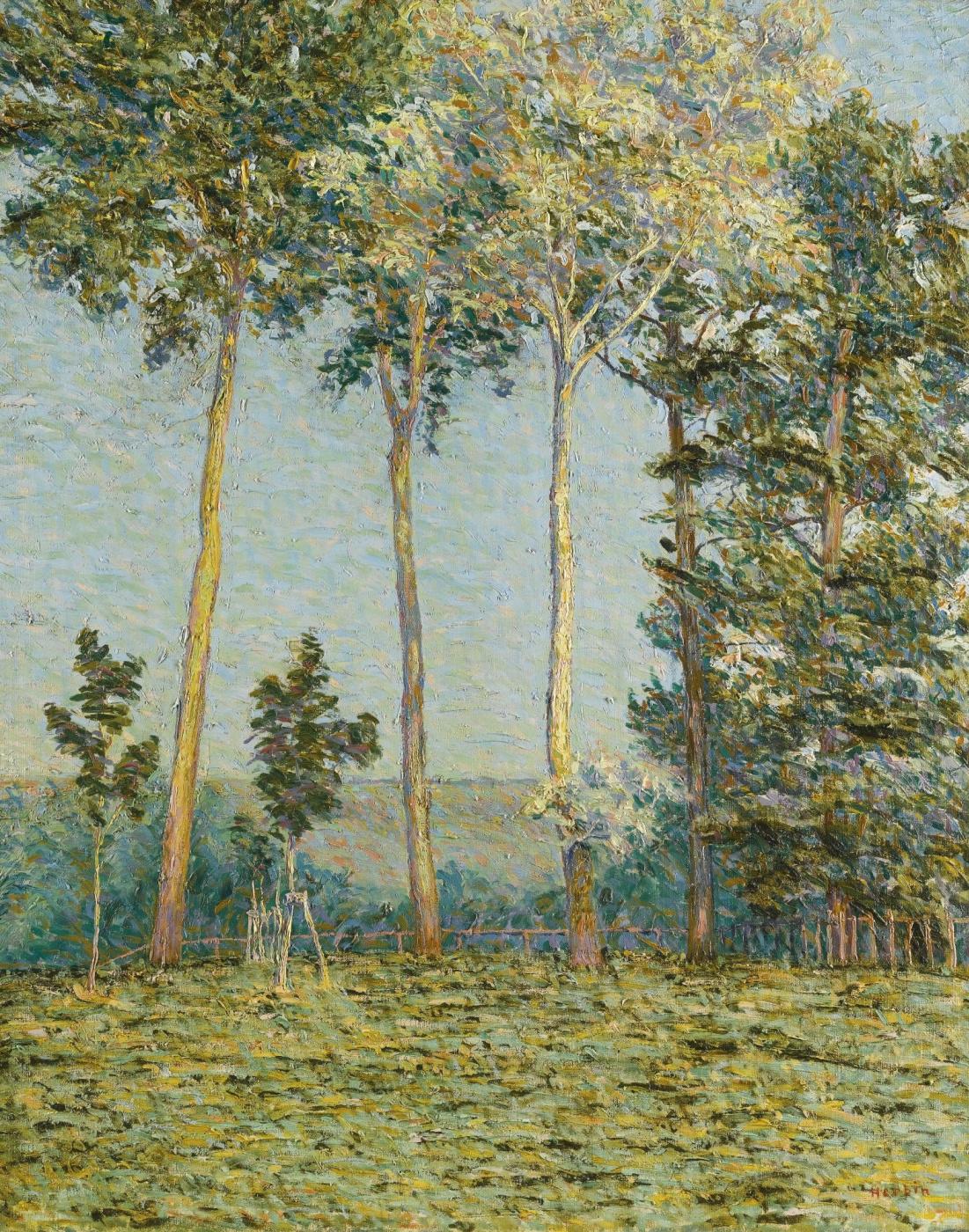 Auguste Erben. Landscape with large trees
