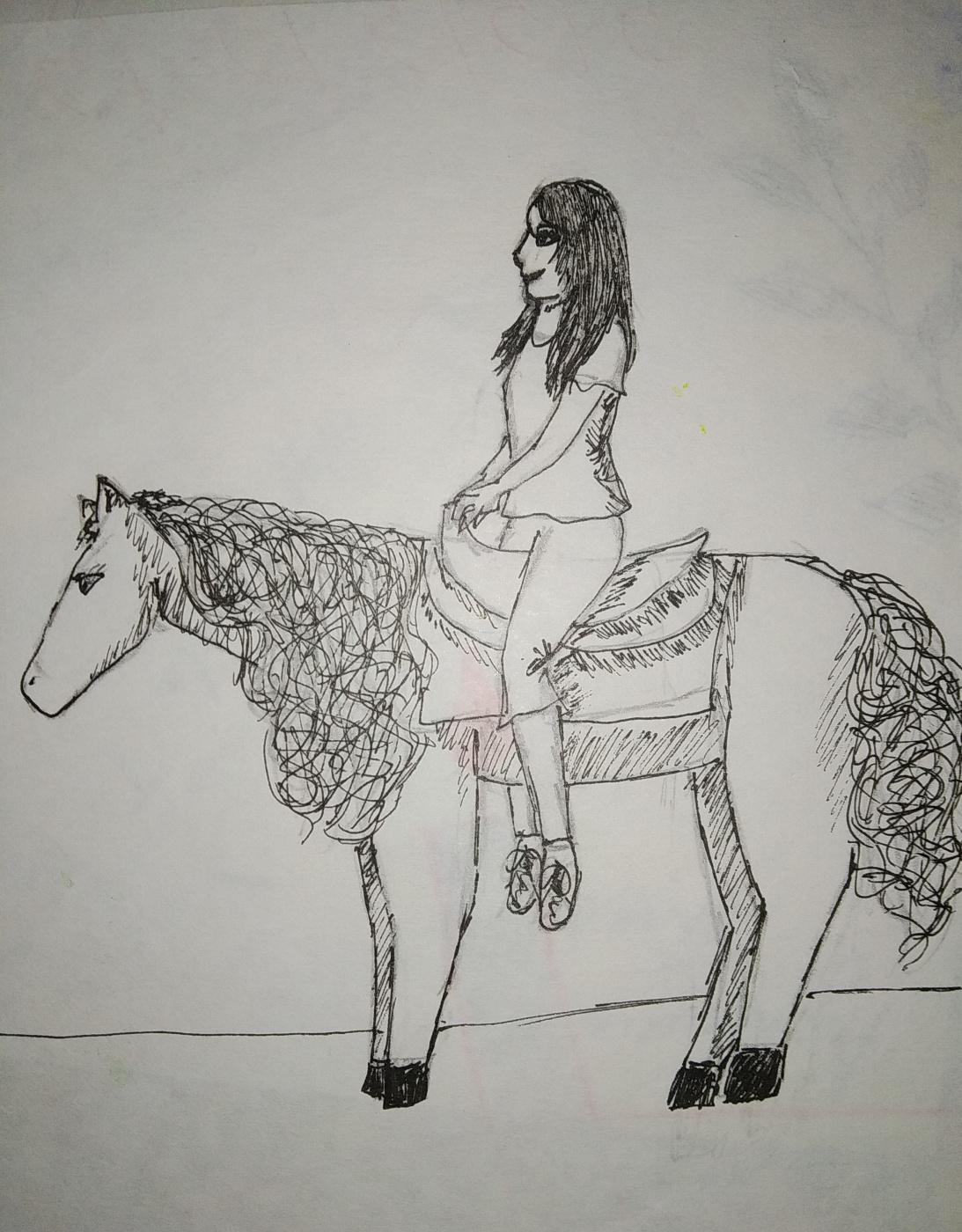 Zina Vladimirovna Parisva. Equestrian self portrait