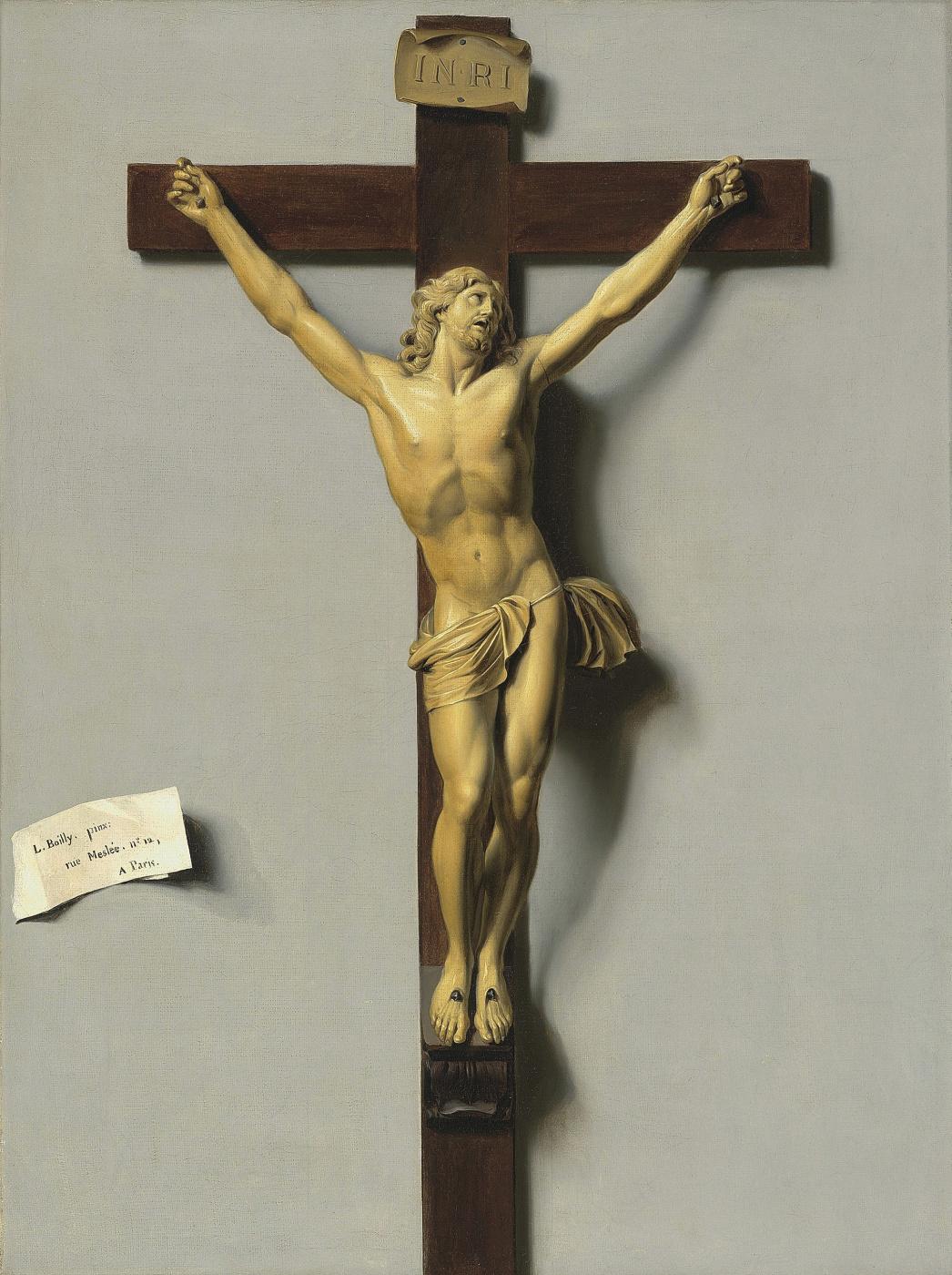 Louis-Leopold Boi. Trompe-l'oeil Crucifix of Ivory and Wood