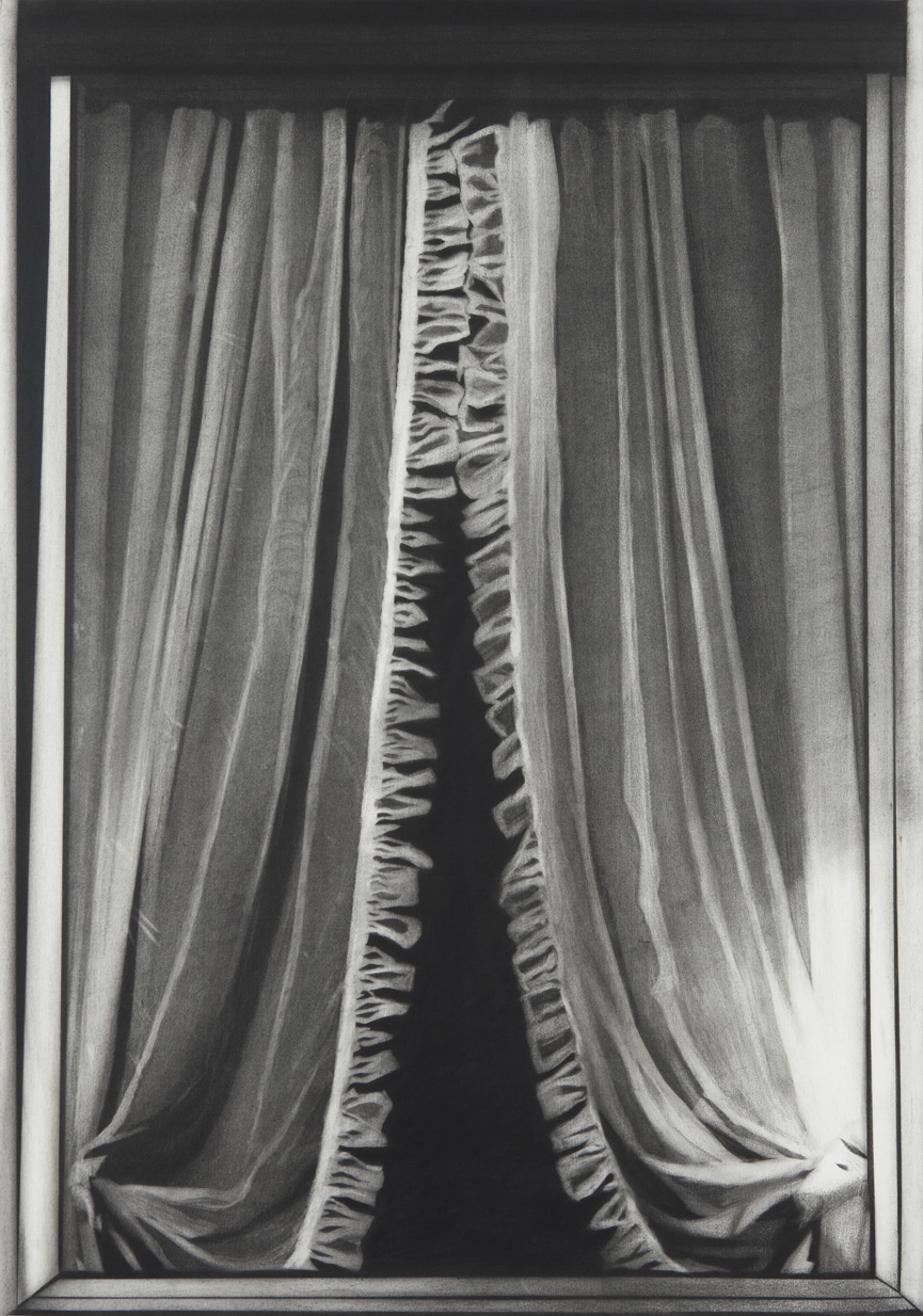 Rick de Boux. Window view with open curtain