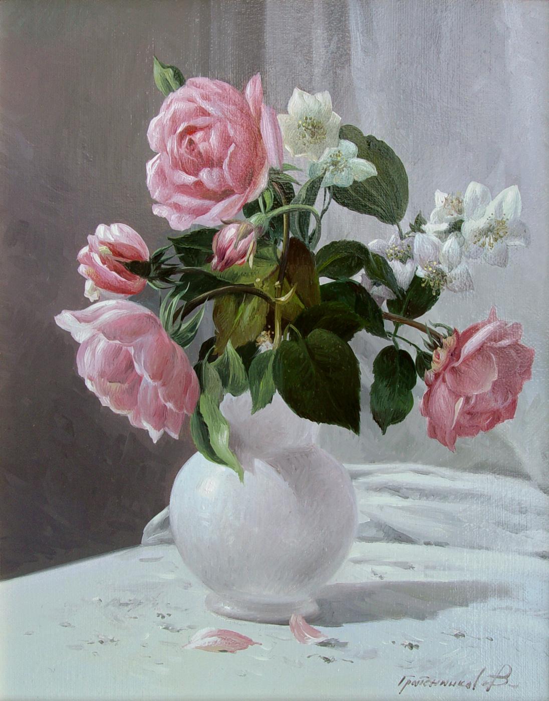 Vasily Ivanovich Gribennikov. Roses and jasmine