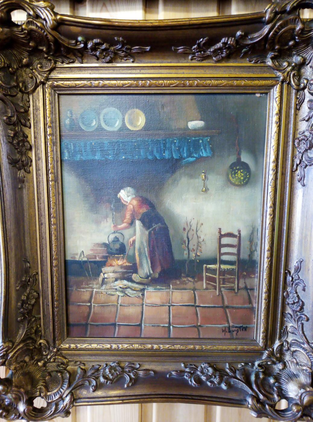 """Hendrik van Langen (1874-1964). """"Woman and the hearth"""""""